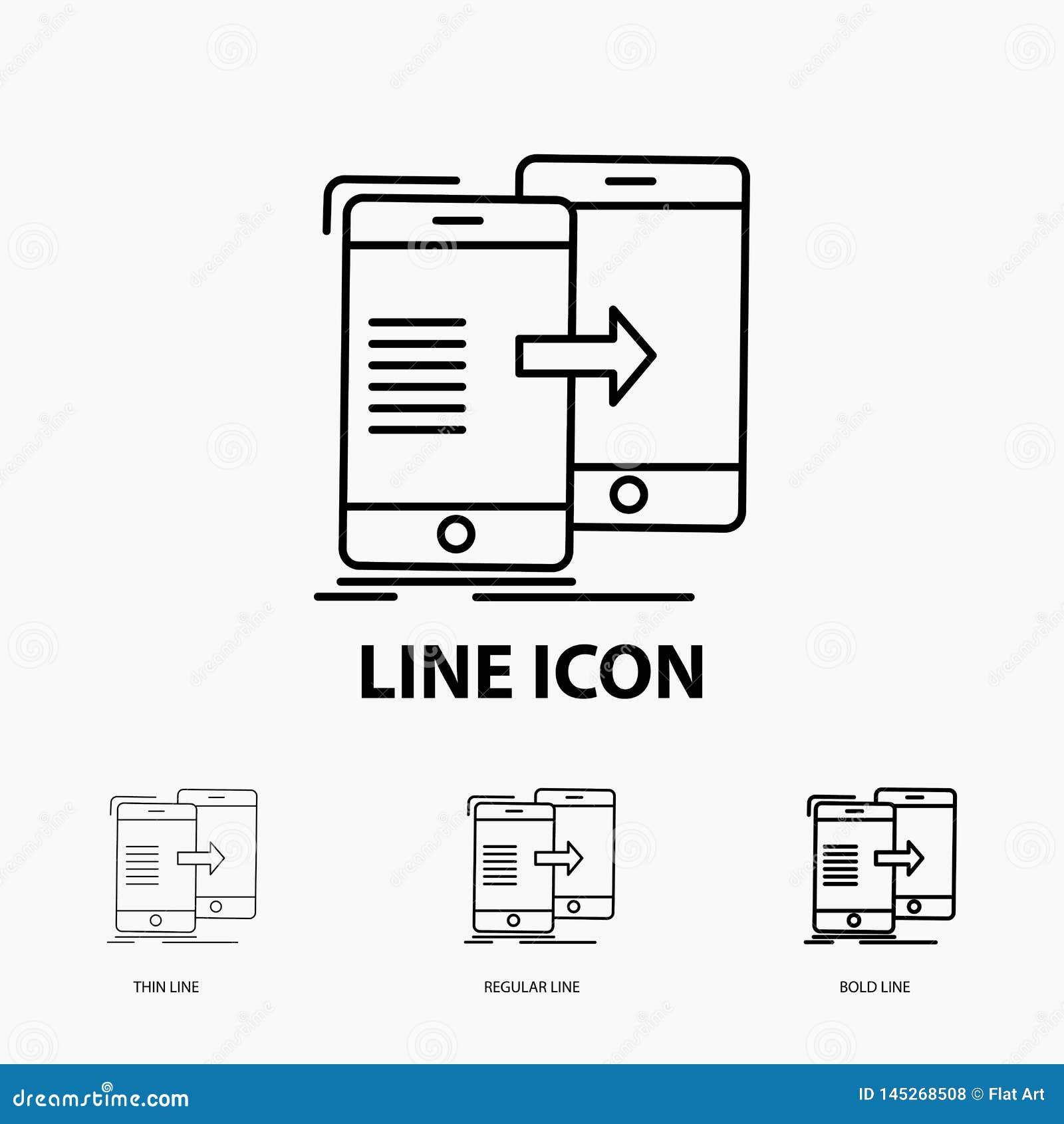 Données, partager, synchronisation, synchronisation, icône syncing dans la ligne style mince, régulière et audacieuse Illustratio