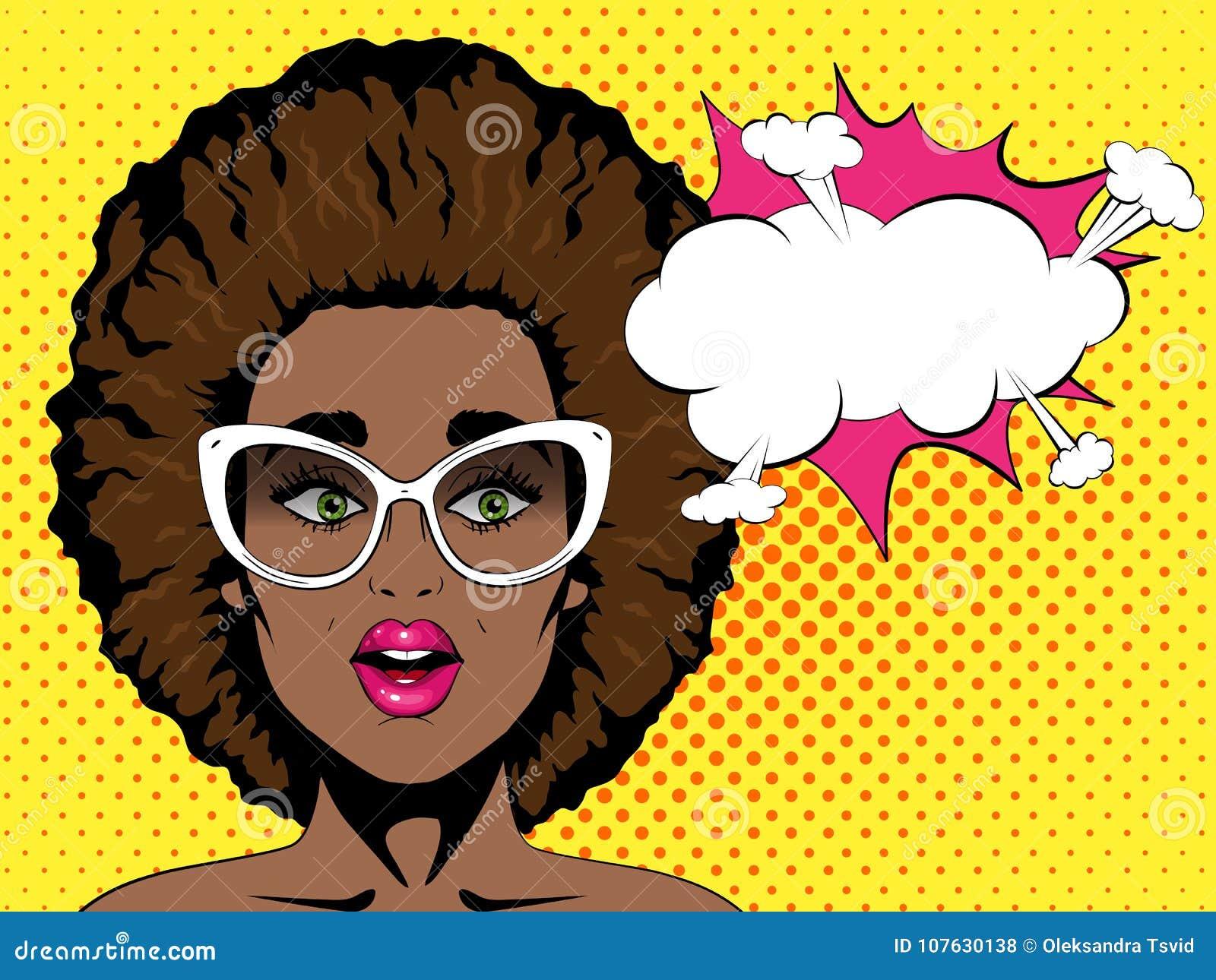Donna africana sorpresa con l acconciatura aperta di afro e della bocca in vetri e nel fumetto Retro stile comico di Pop art