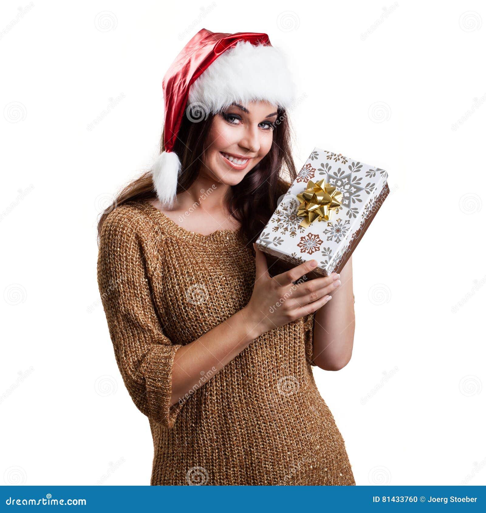 Donna Attraente Con Un Cappello Di Natale E Un Regalo ...