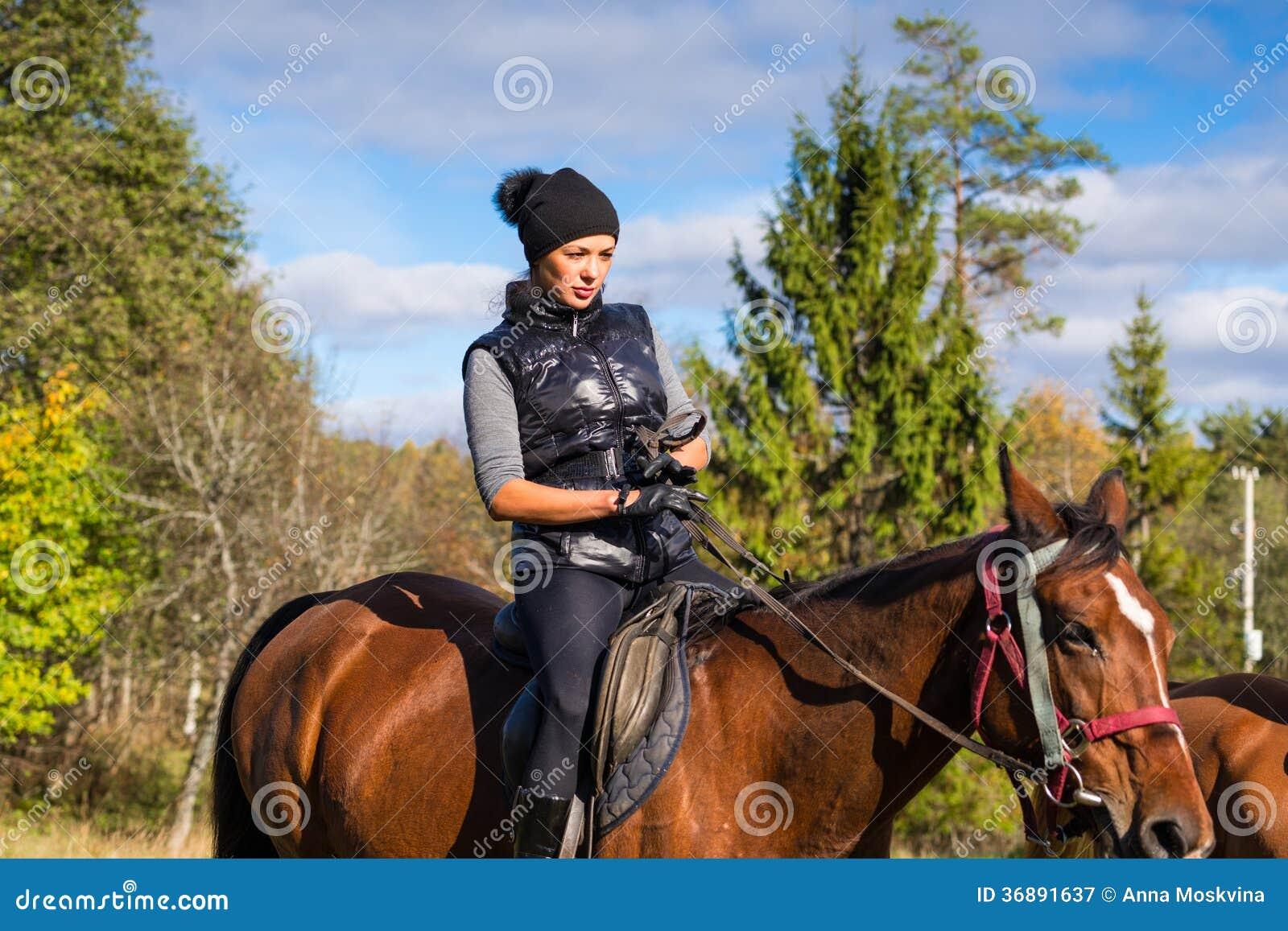 Download Donna Attraente Elegante Che Monta Un Cavallo Immagine Stock - Immagine di attività, prato: 36891637