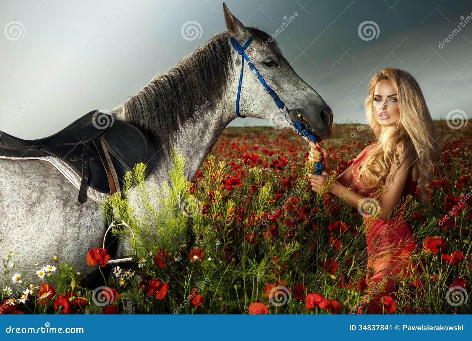 Donna Bionda Splendida Che Posa Con Il Cavallo. Immagine ...