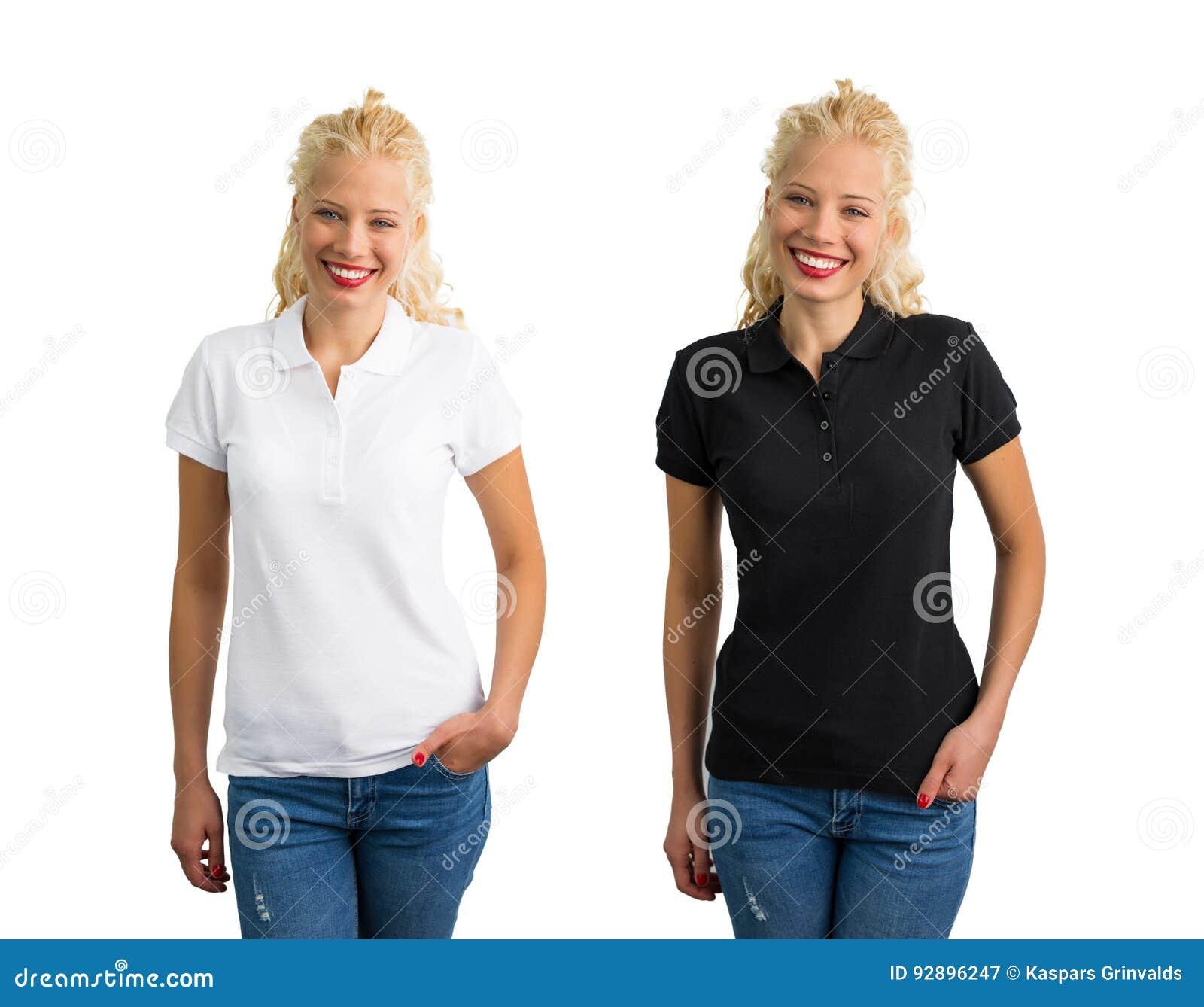 uk availability 13b1b 778aa Donna In Camicia Di Polo Bianca E Nera Immagine Stock ...