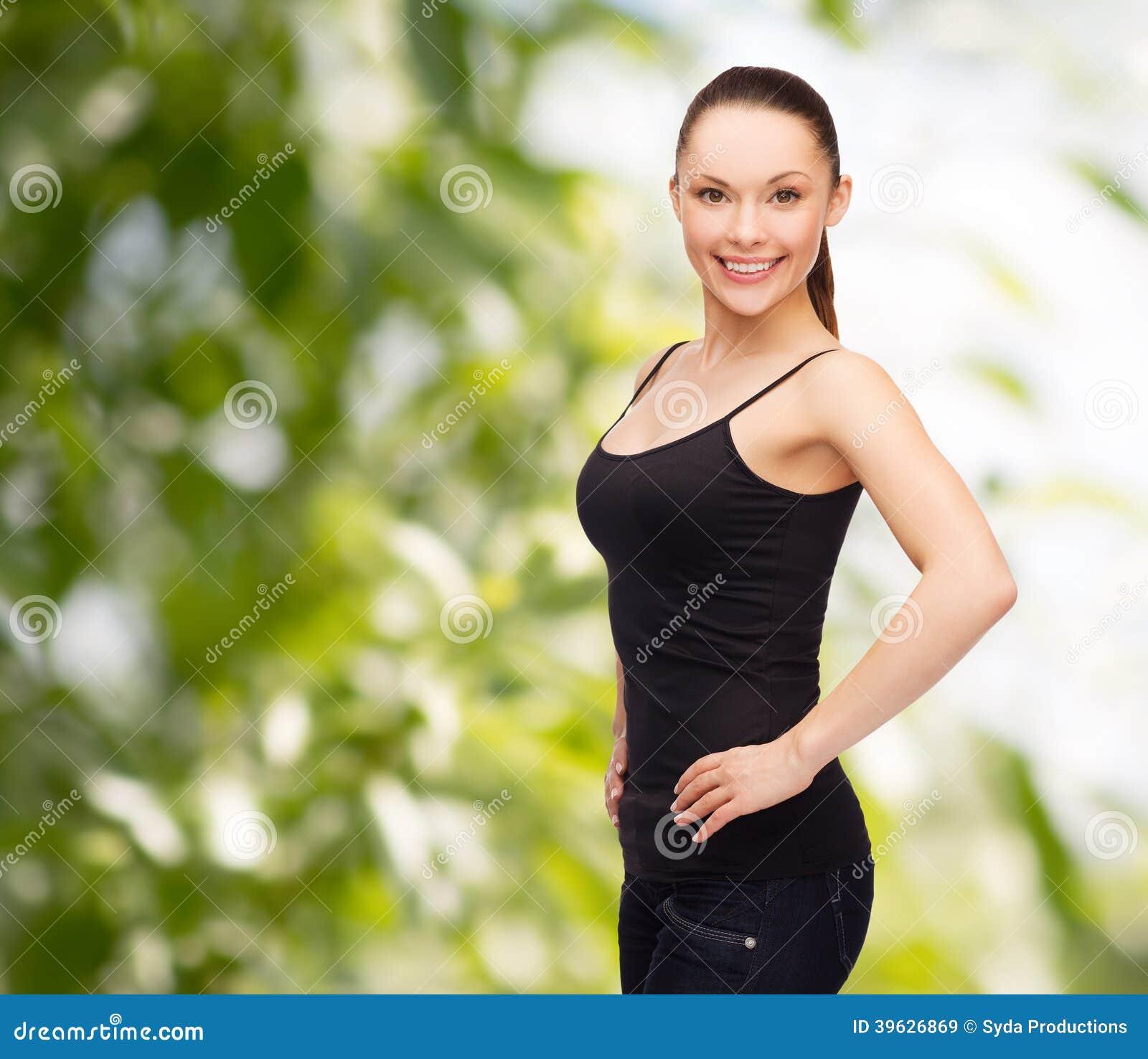 Immagine Bianco In Camicia Donna In di Stock Nera felice Immagine TSXnqa