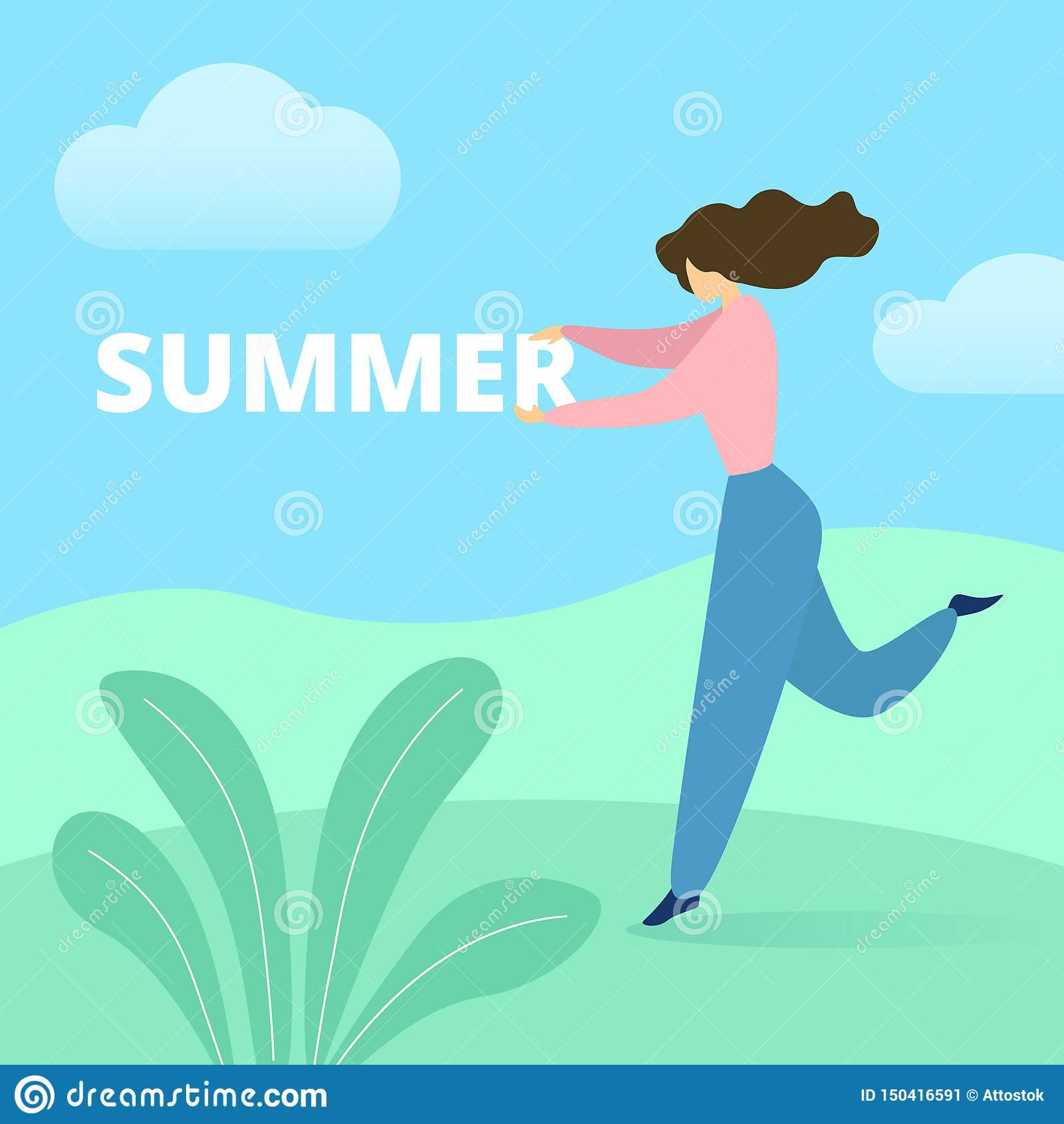Donna che balla sull estate verde di parola della tenuta del campo