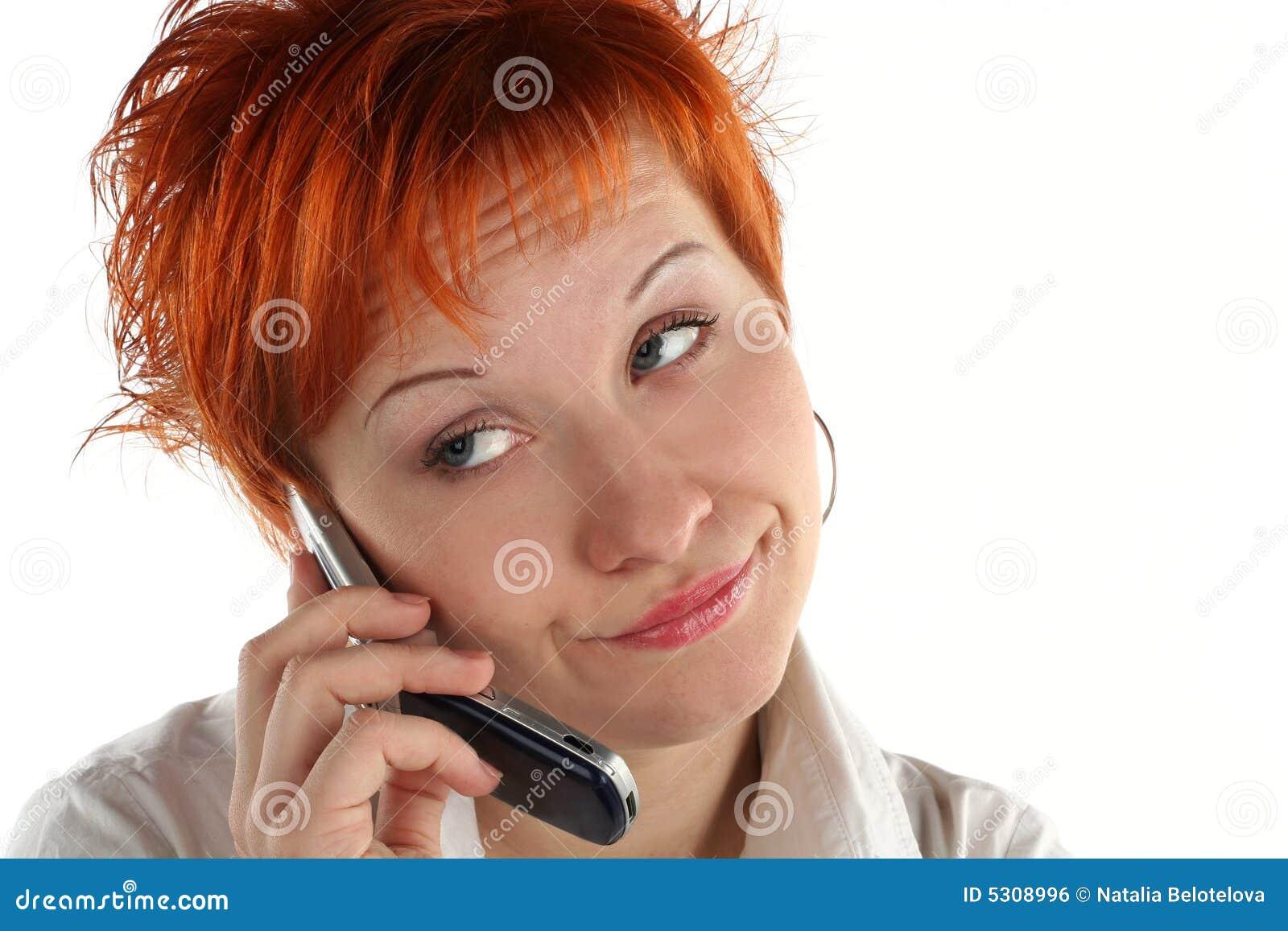 Download Donna Che Comunica Dal Mobile Fotografia Stock - Immagine di casuale, confusione: 5308996
