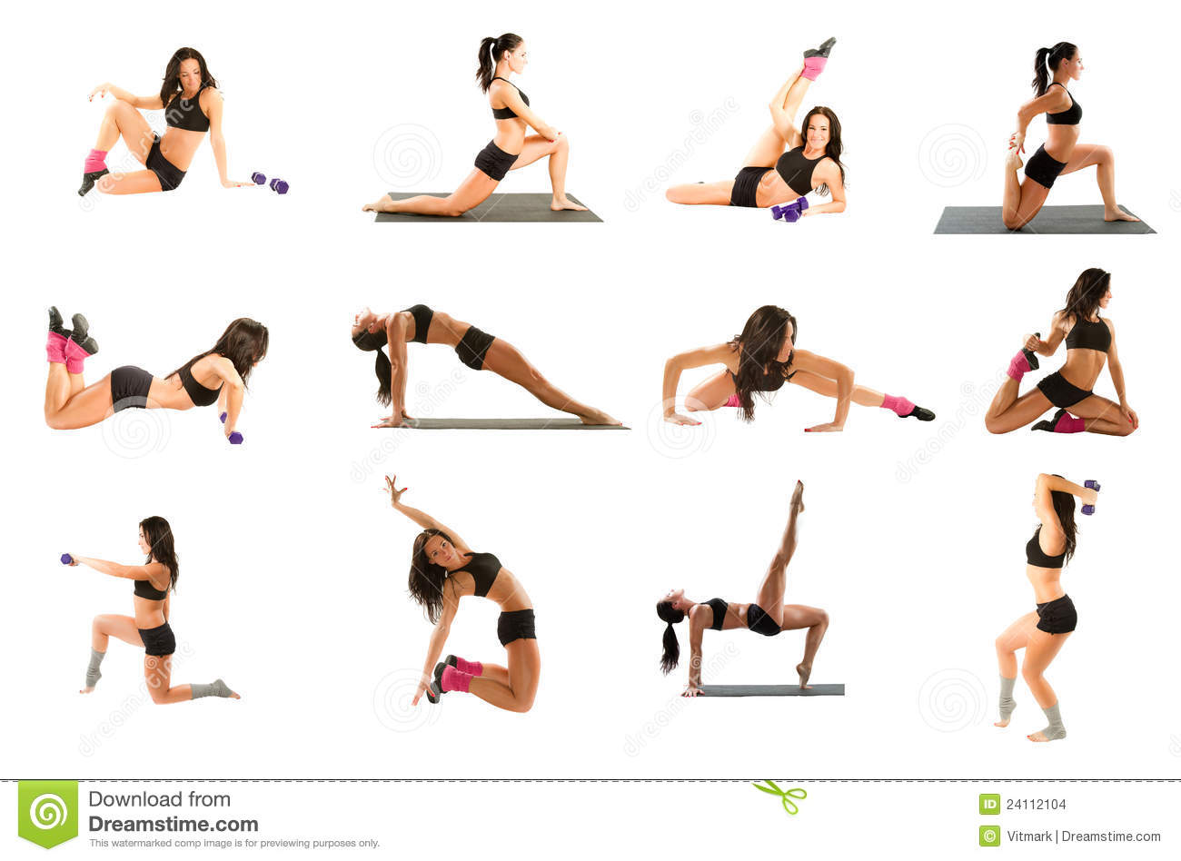 Donna che esercita collage - yoga, forma fisica, pilates