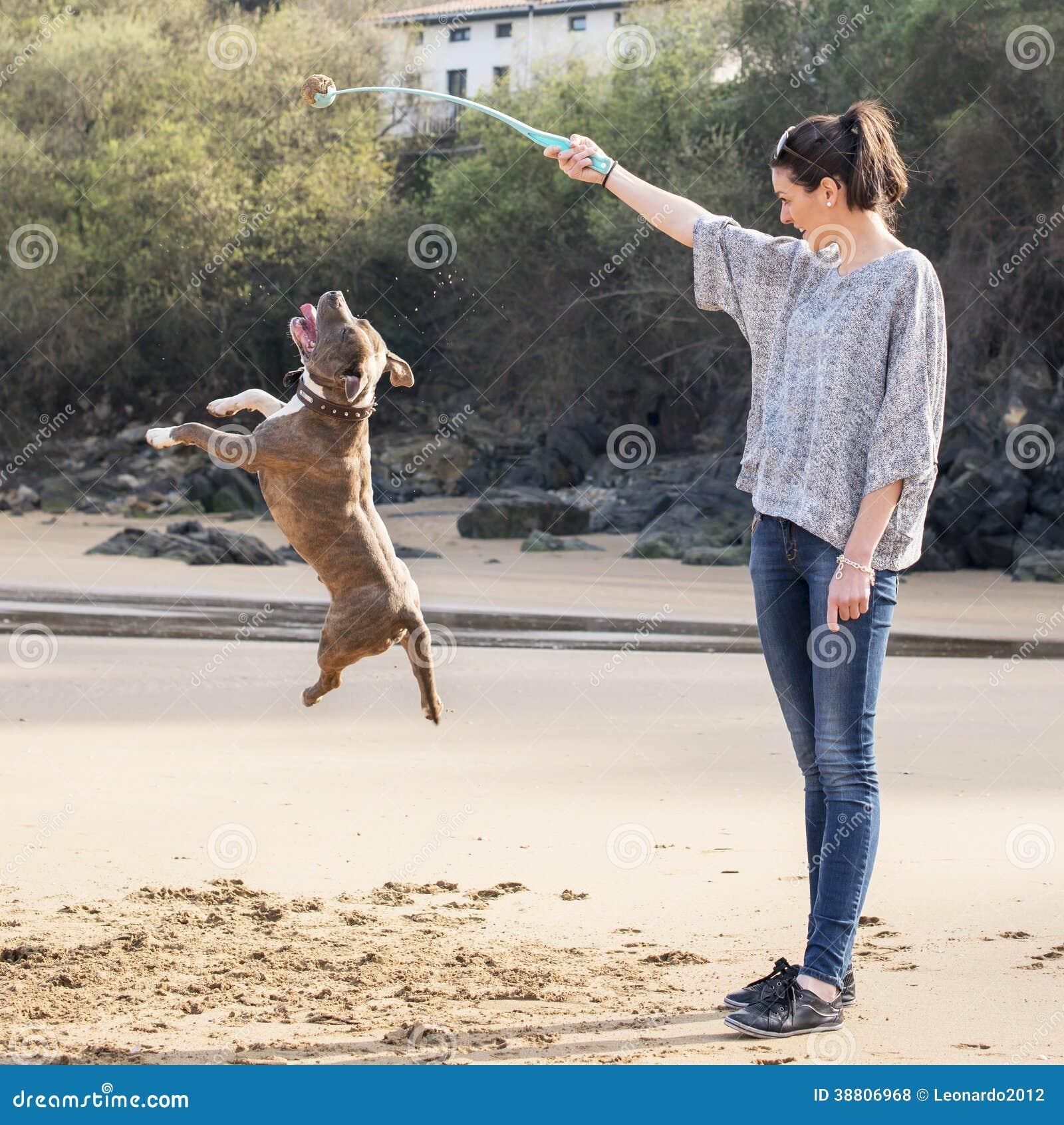Donna che gioca e che traing del vostro cane, all aperto.