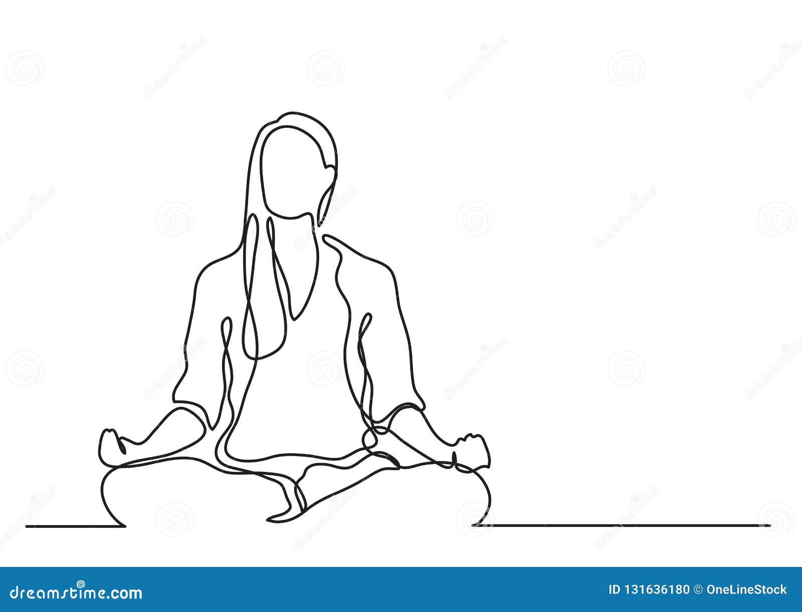 Donna che medita - disegno a tratteggio continuo