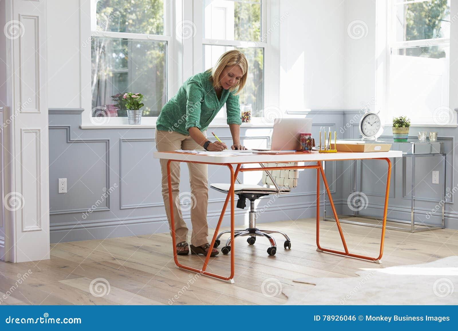 Donna che sta allo scrittorio che funziona al computer portatile in Ministero degli Interni