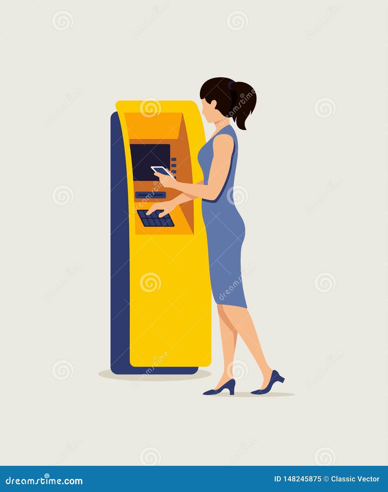 Donna che usando BANCOMAT e l illustrazione di vettore dello smartphone