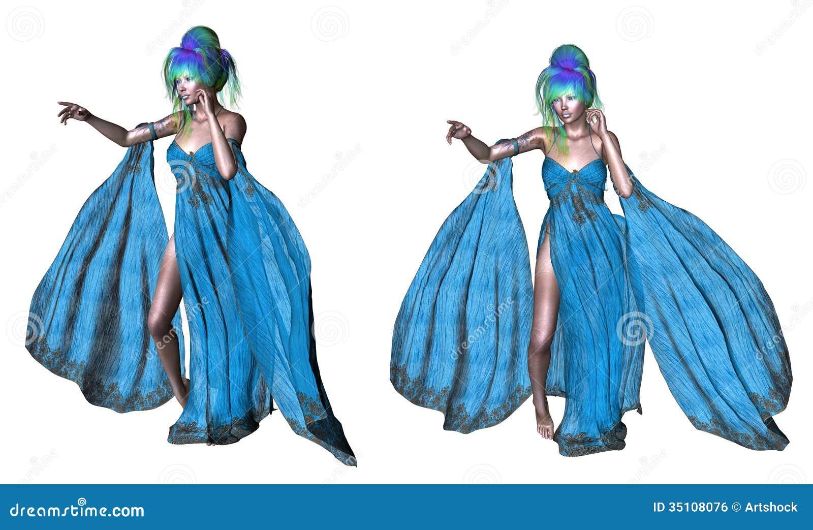 Donna con capelli blu illustrazione di stock ...