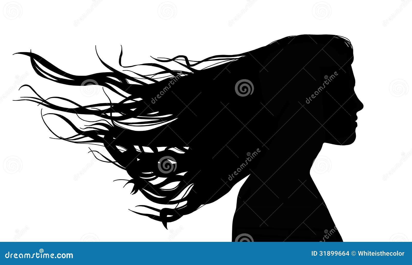 Donna Con Capelli Lunghi Nel Vento Illustrazione di Stock ...