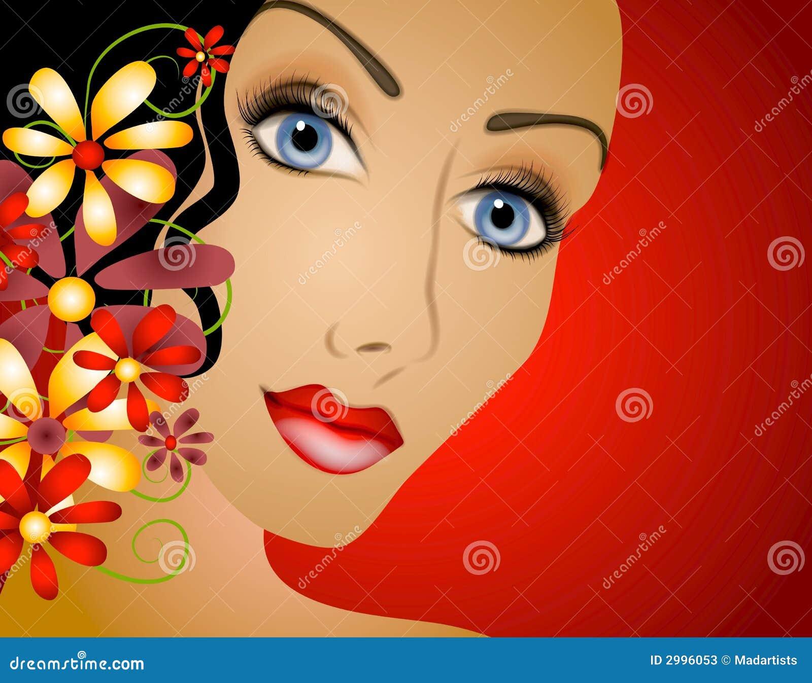 Donna con i capelli 2 dei fiori