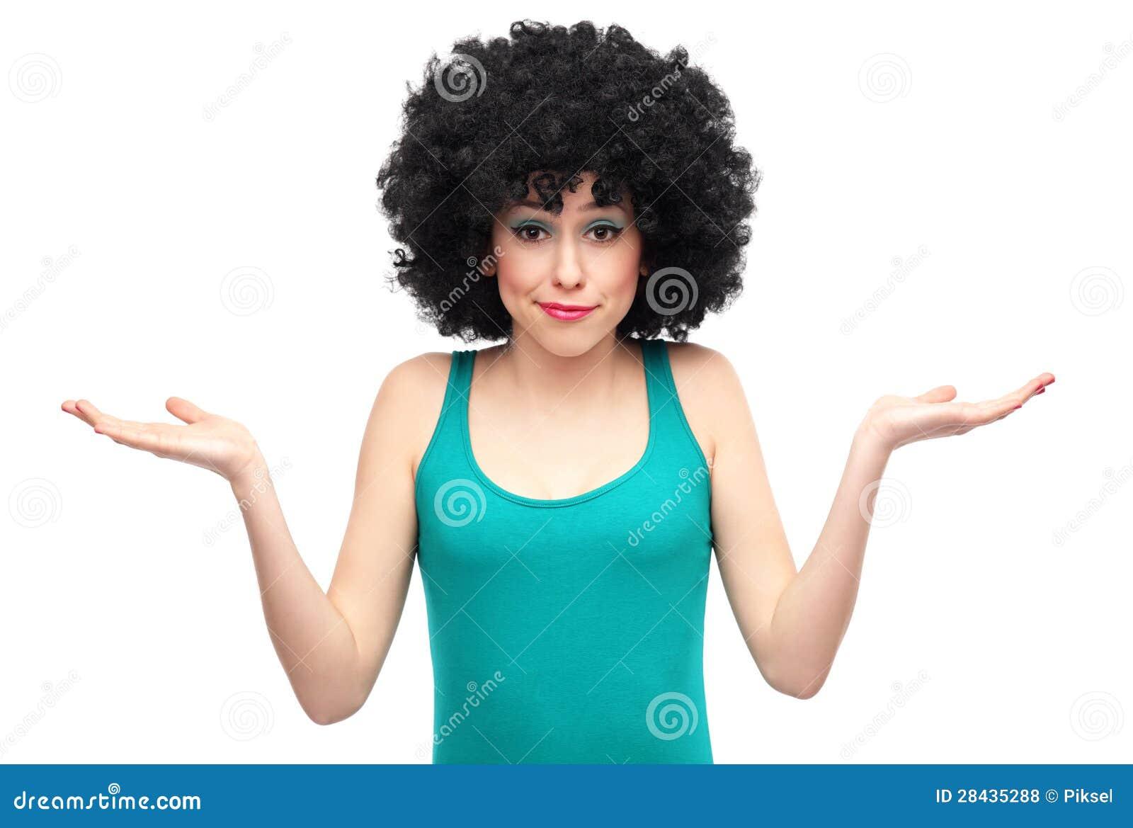 Donna Con I Capelli Di Afro Che Esprimono Confusione ...