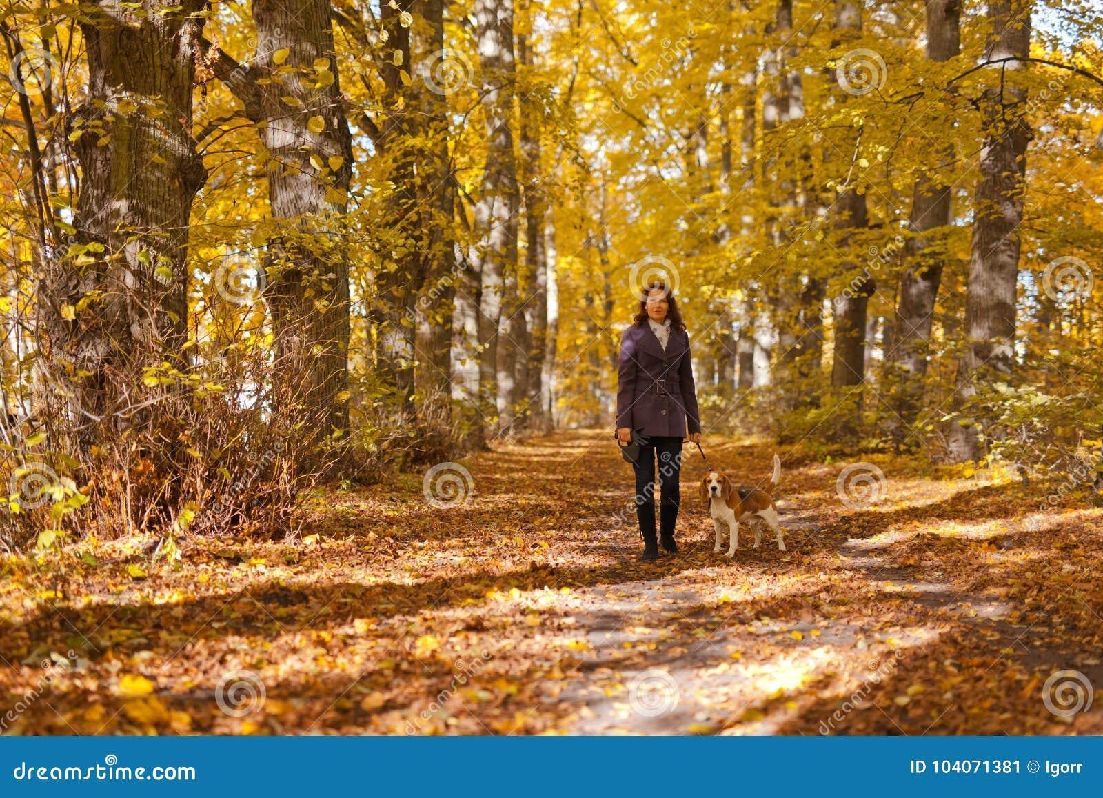 Donna con il cane nella sosta di autunno