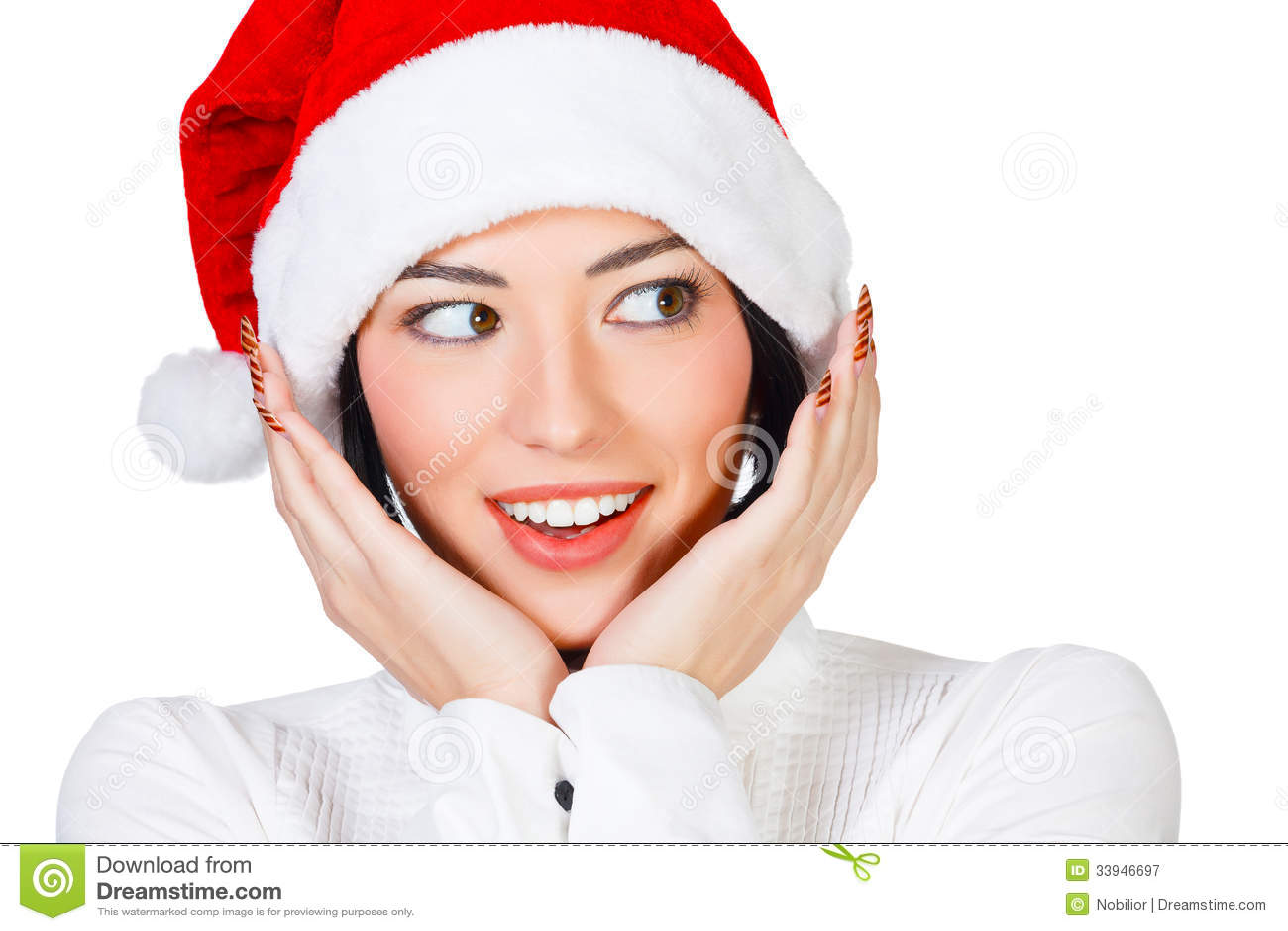 Donna Con Il Cappello Di Natale Fotografia Stock Libera da Diritti - Immagine...