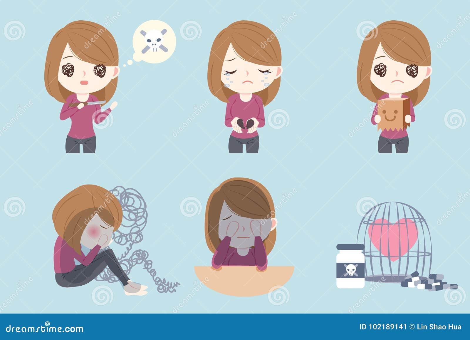 Donna con il problema depresso