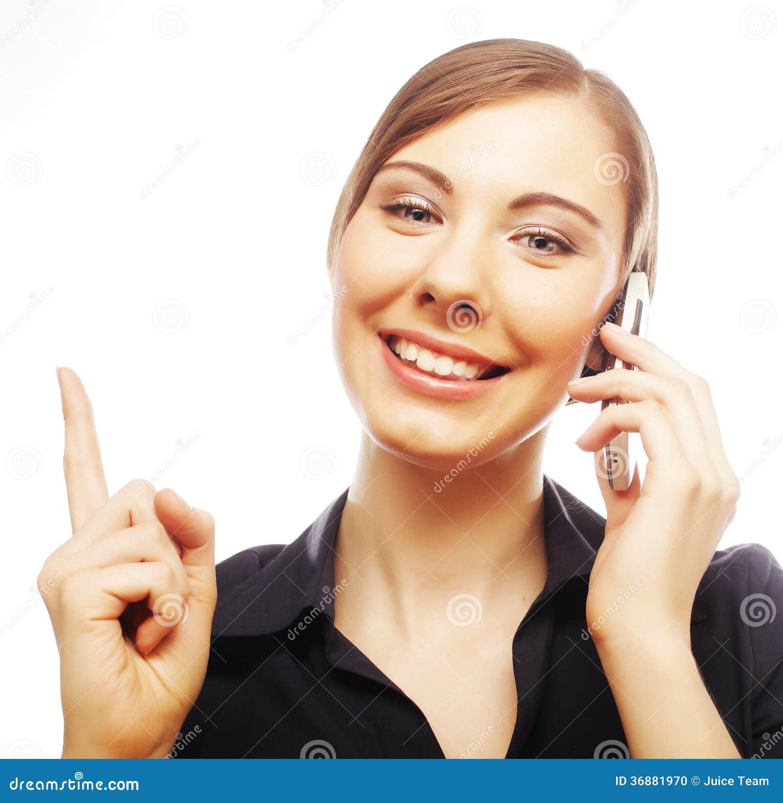 Download Donna Con Indicare Sorridente Del Cellulare Su Fotografia Stock - Immagine di mano, femmina: 36881970