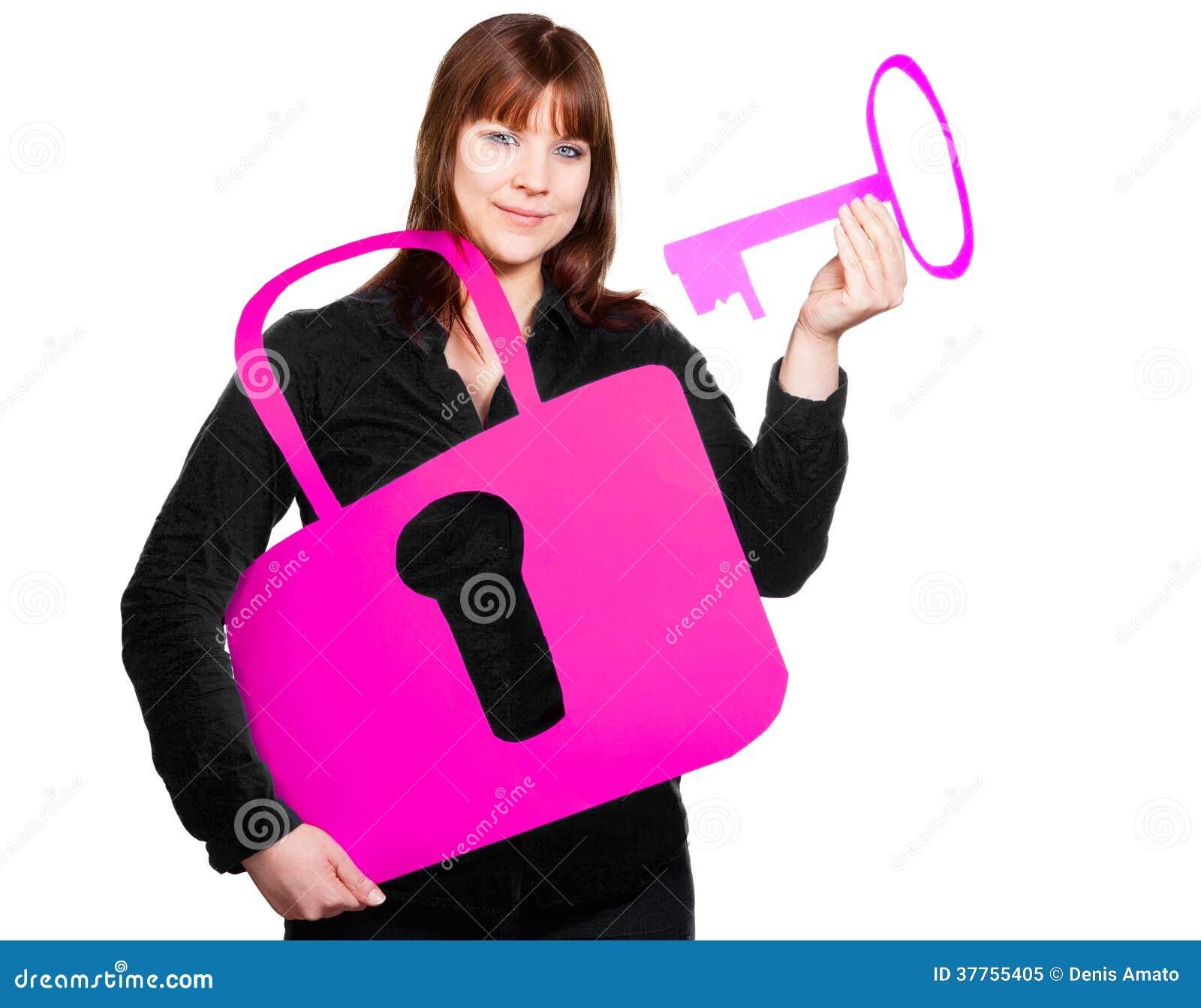 Estremamente Donna con la chiave e la serratura foto stock - Iscriviti Gratis XV63