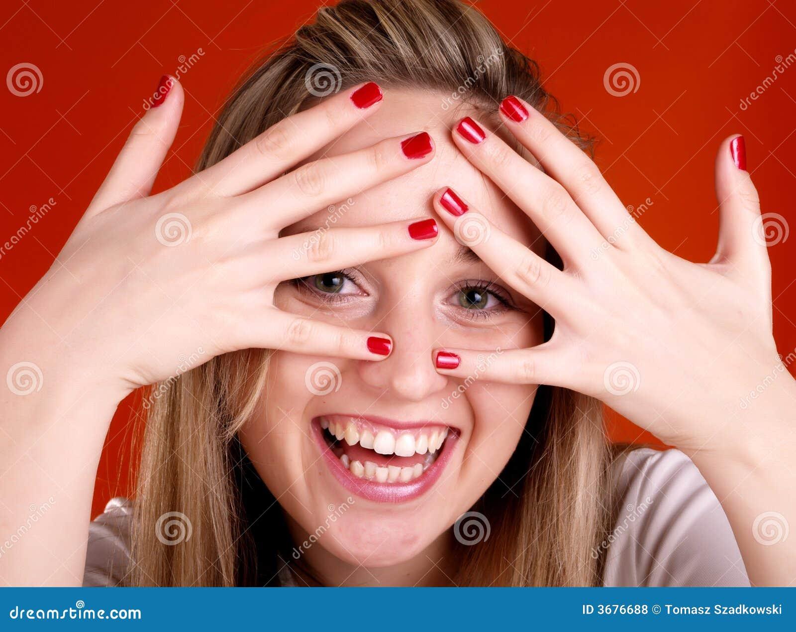Download Donna Con Le Barrette Sopra Il Suo Fronte Fotografia Stock - Immagine di divertimento, ragazza: 3676688