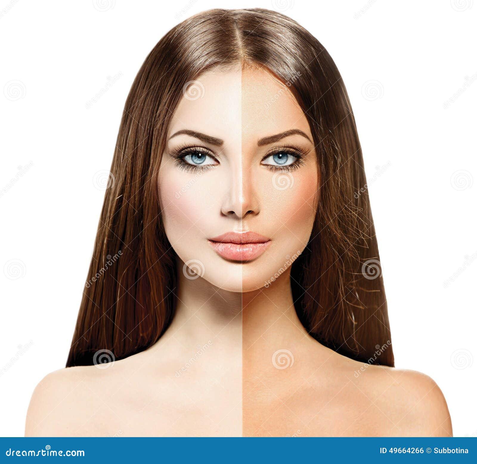 Donna con pelle abbronzata prima e dopo l abbronzatura