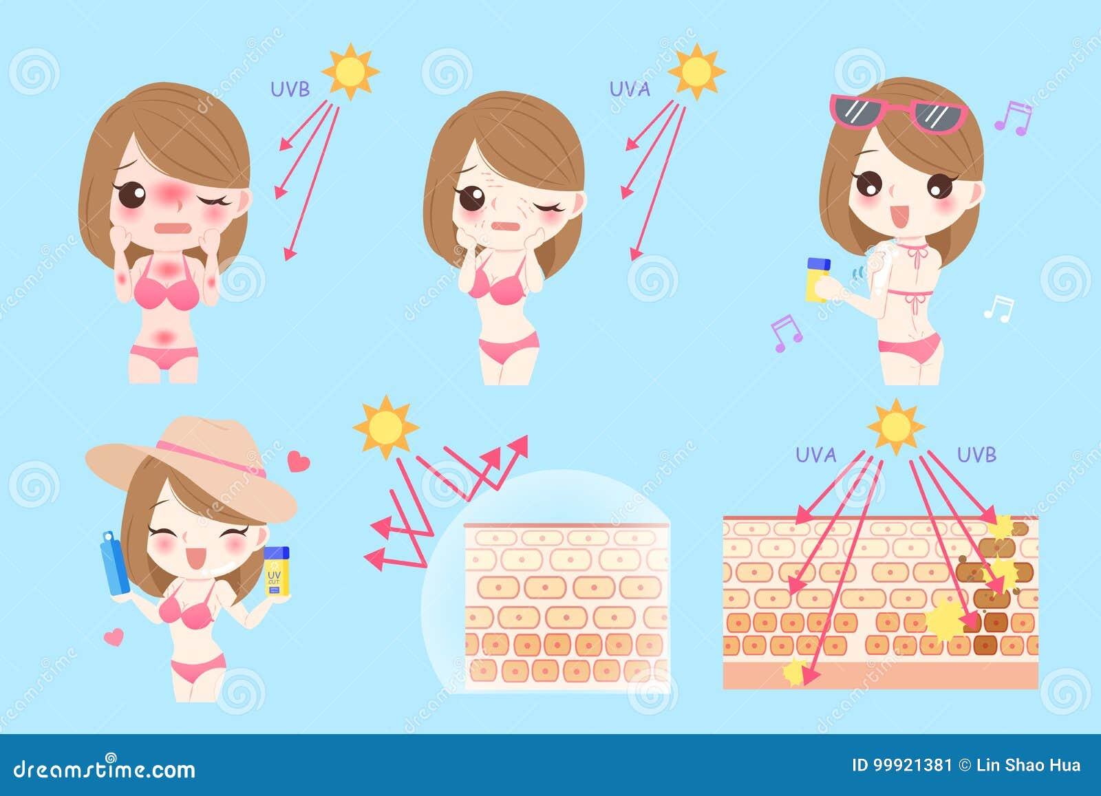 Donna con protezione solare