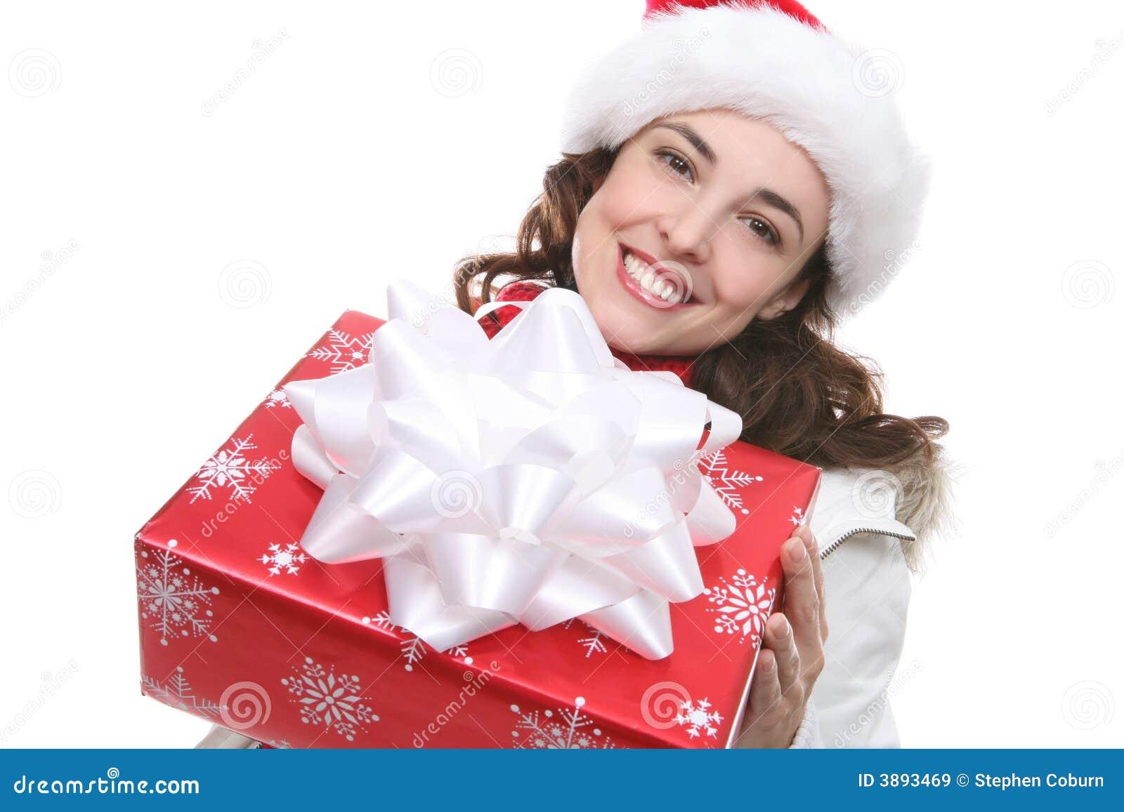 Donna con regalo di Natale