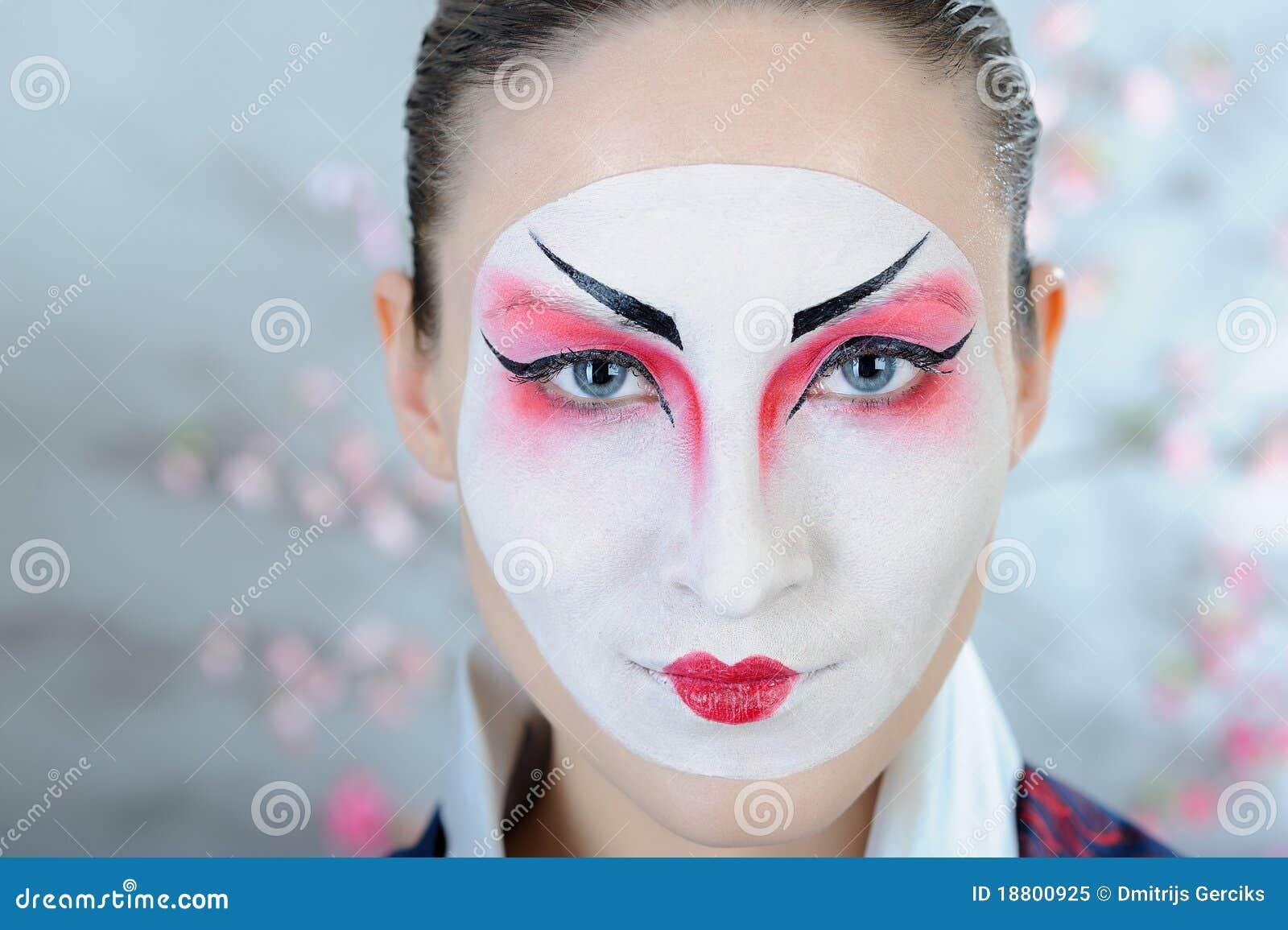 Bien connu Donna Del Geisha Del Giappone Con Trucco Creativo. Immagine Stock  FU43