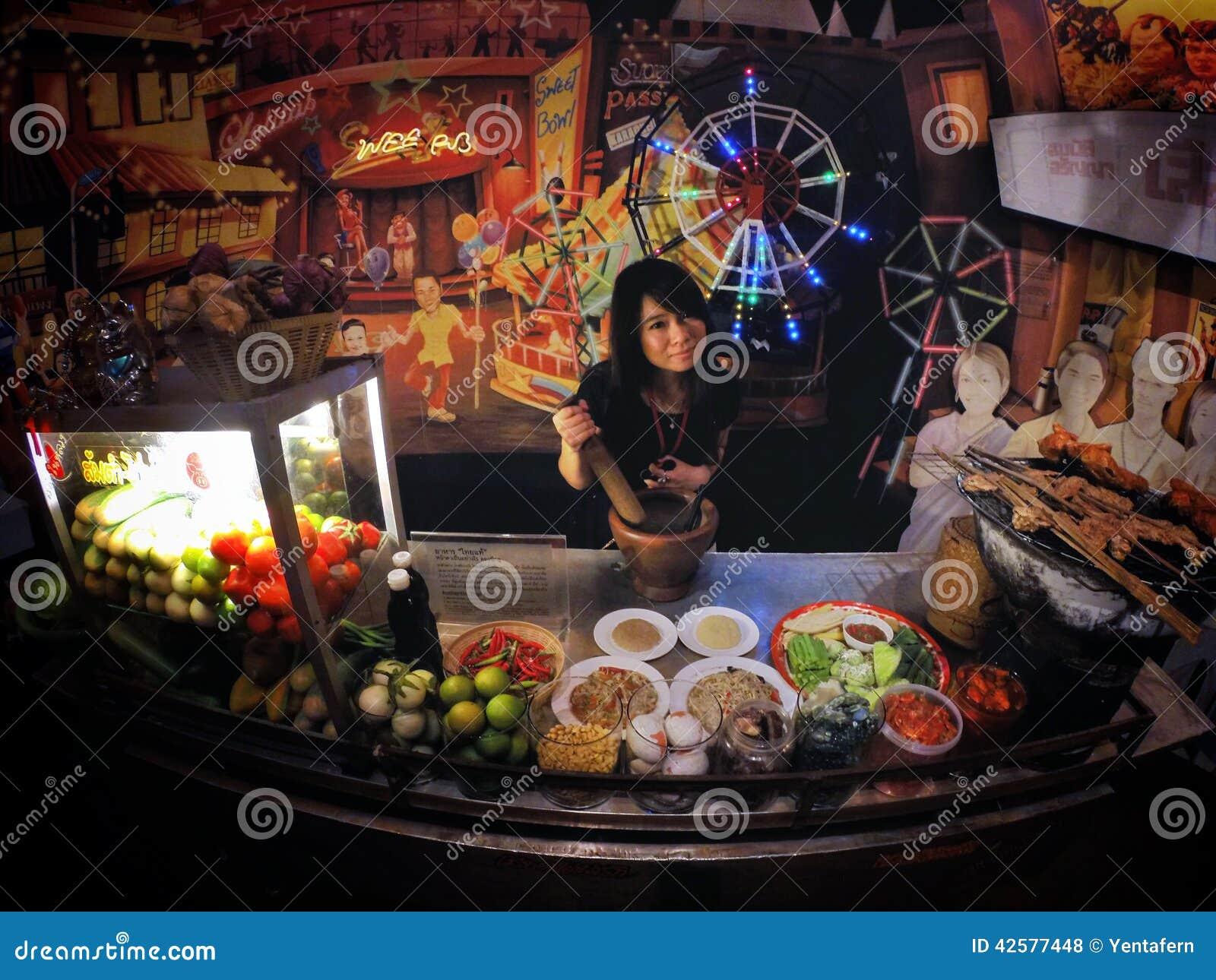 Donna del mercato dell Papaia-insalata