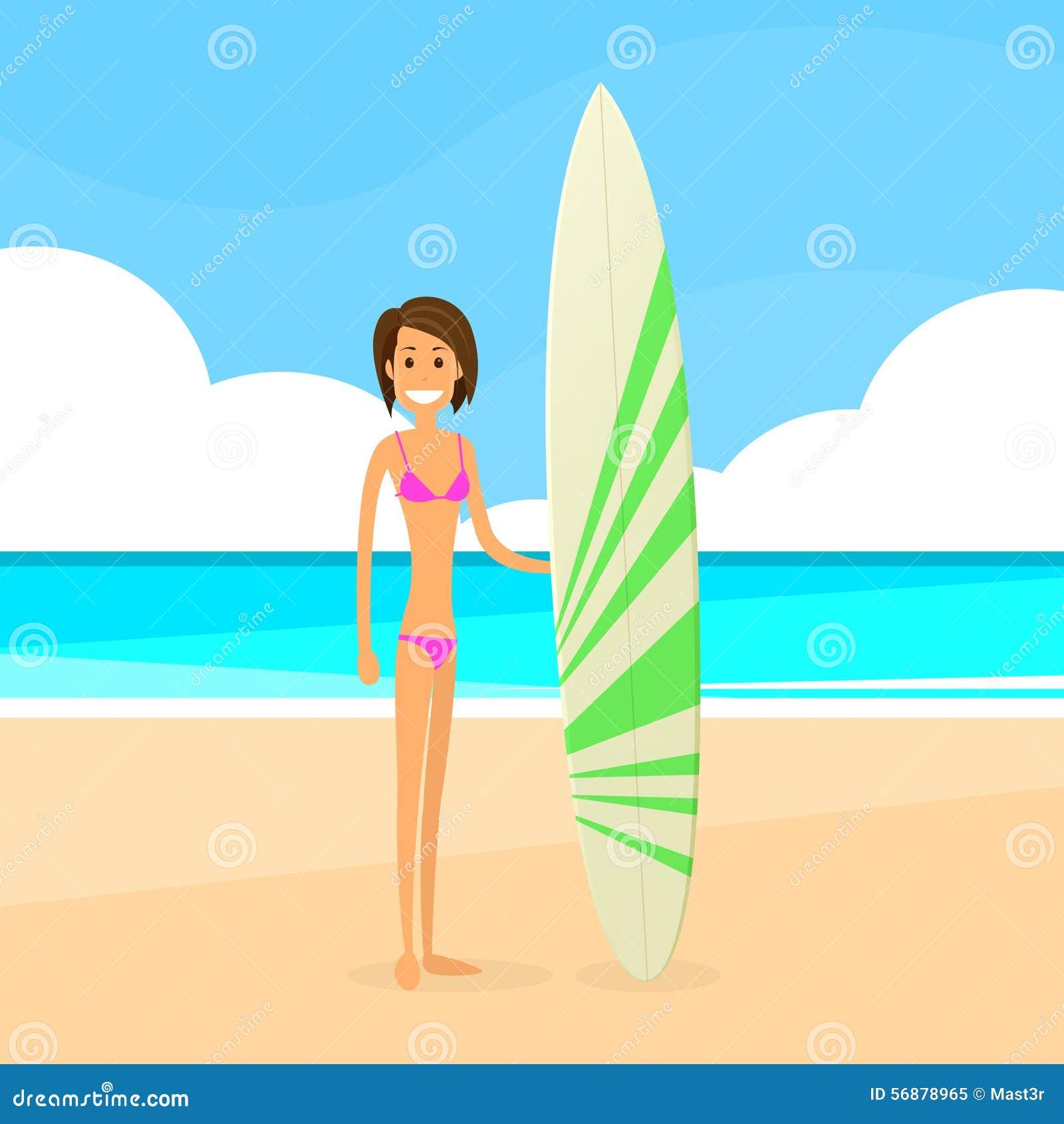 Donna del surfista con la vacanza estiva del bordo praticante il surfing