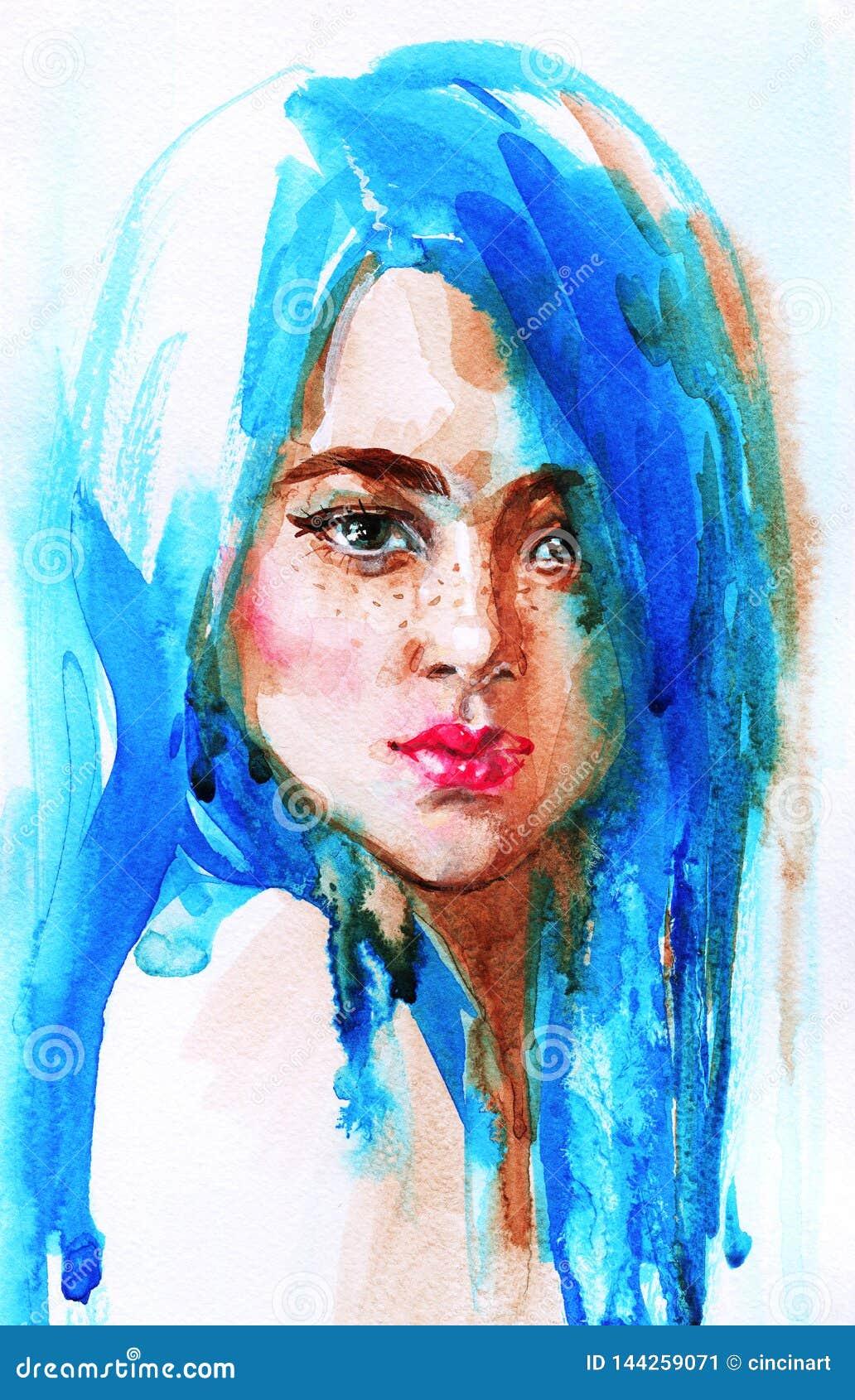 Donna Dell'acquerello Con Capelli Blu Illustrazione di ...
