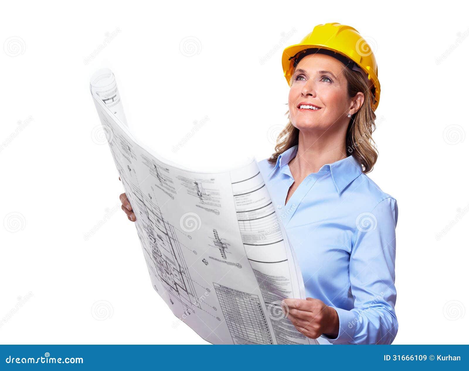 Donna dell 39 architetto con un piano immagine stock for Piano di abbozzo domestico