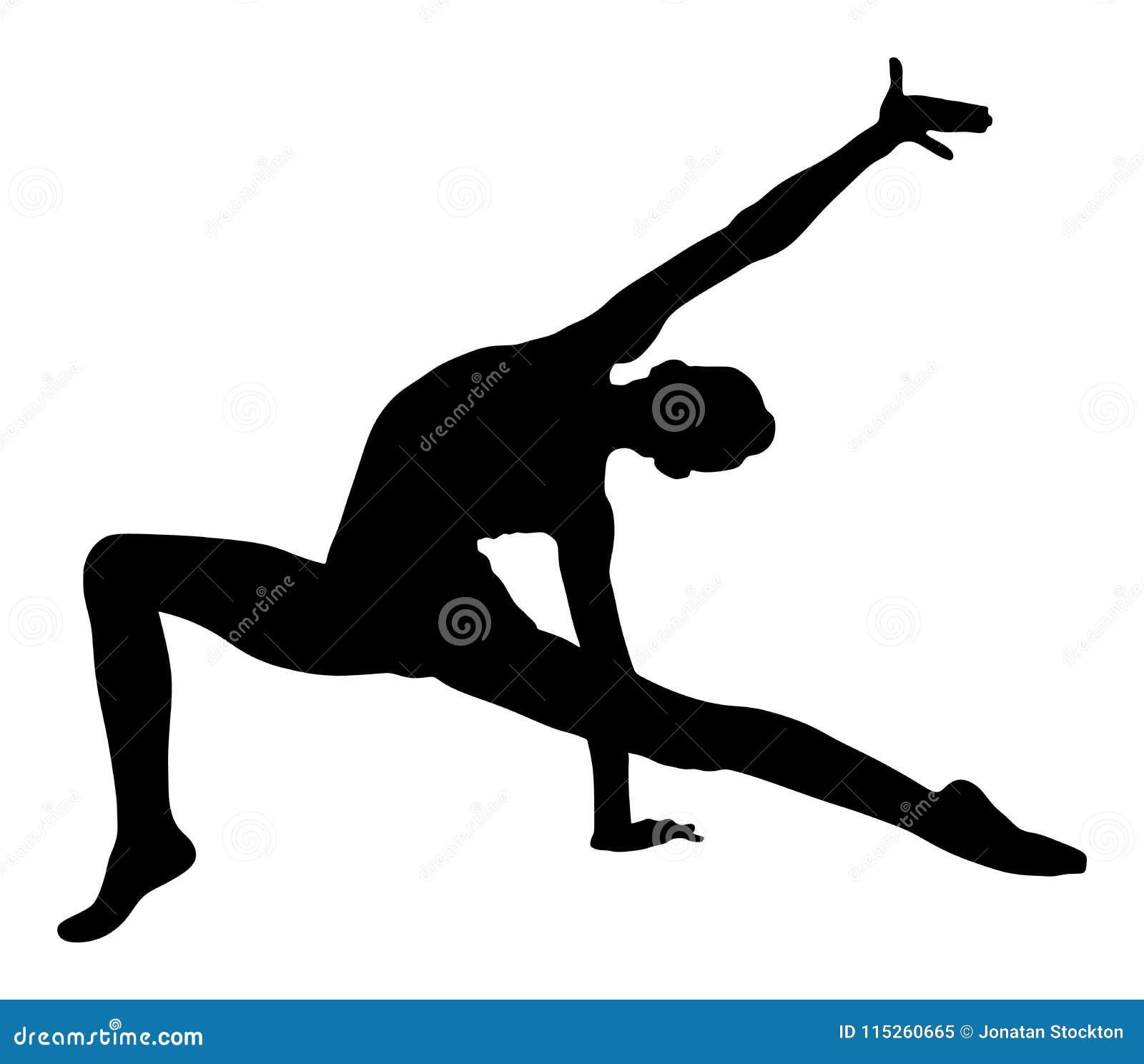 Donna dell atleta nella siluetta di esercizio della palestra Siluetta della ragazza di balletto Ginnastica ritmica - icona vector