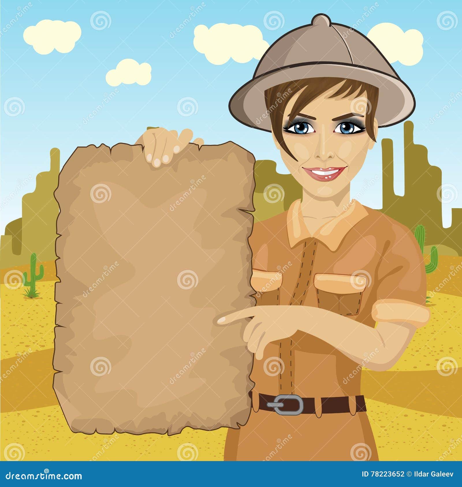 Donna dell esploratore con la mappa del tesoro della tenuta del cappello di  safari in deserto 23962f9bd19f