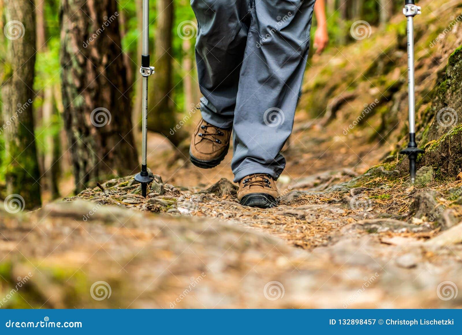Donna della ragazza che fa un escursione gli schoes e vista del dettaglio dei bastoni nell attività all aperto della foresta in n