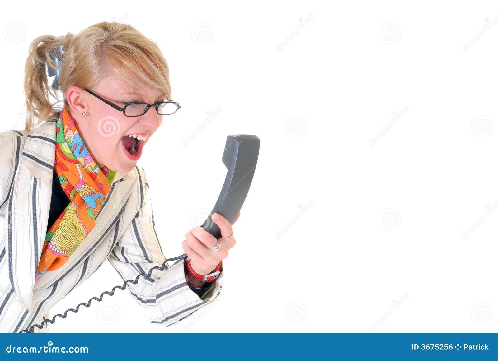Download Donna Di Affari Arrabbiata Sul Telefono Fotografia Stock - Immagine di aggressivo, vetri: 3675256