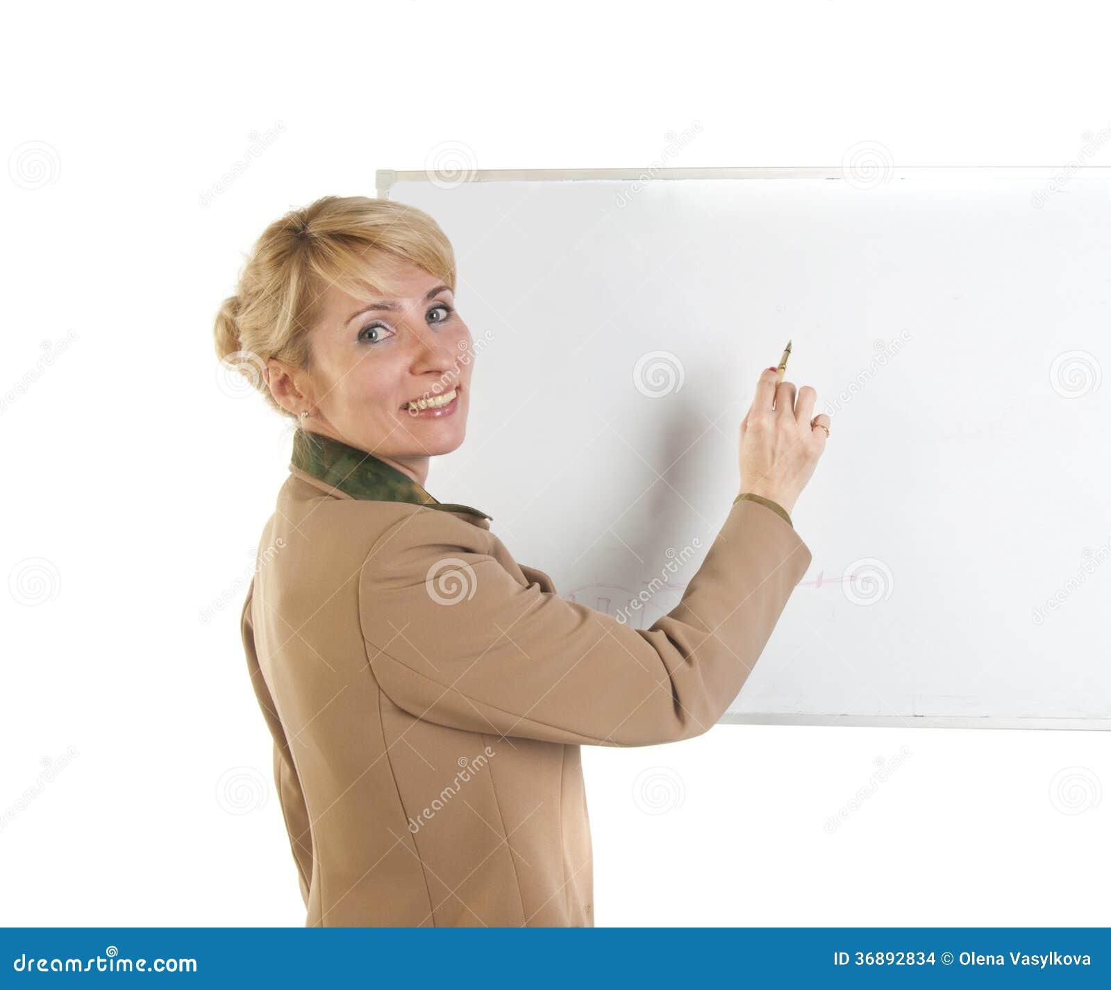 Download Donna Di Affari Che Mostra Insegna In Bianco. Fotografia Stock - Immagine di pubblicità, businesswoman: 36892834