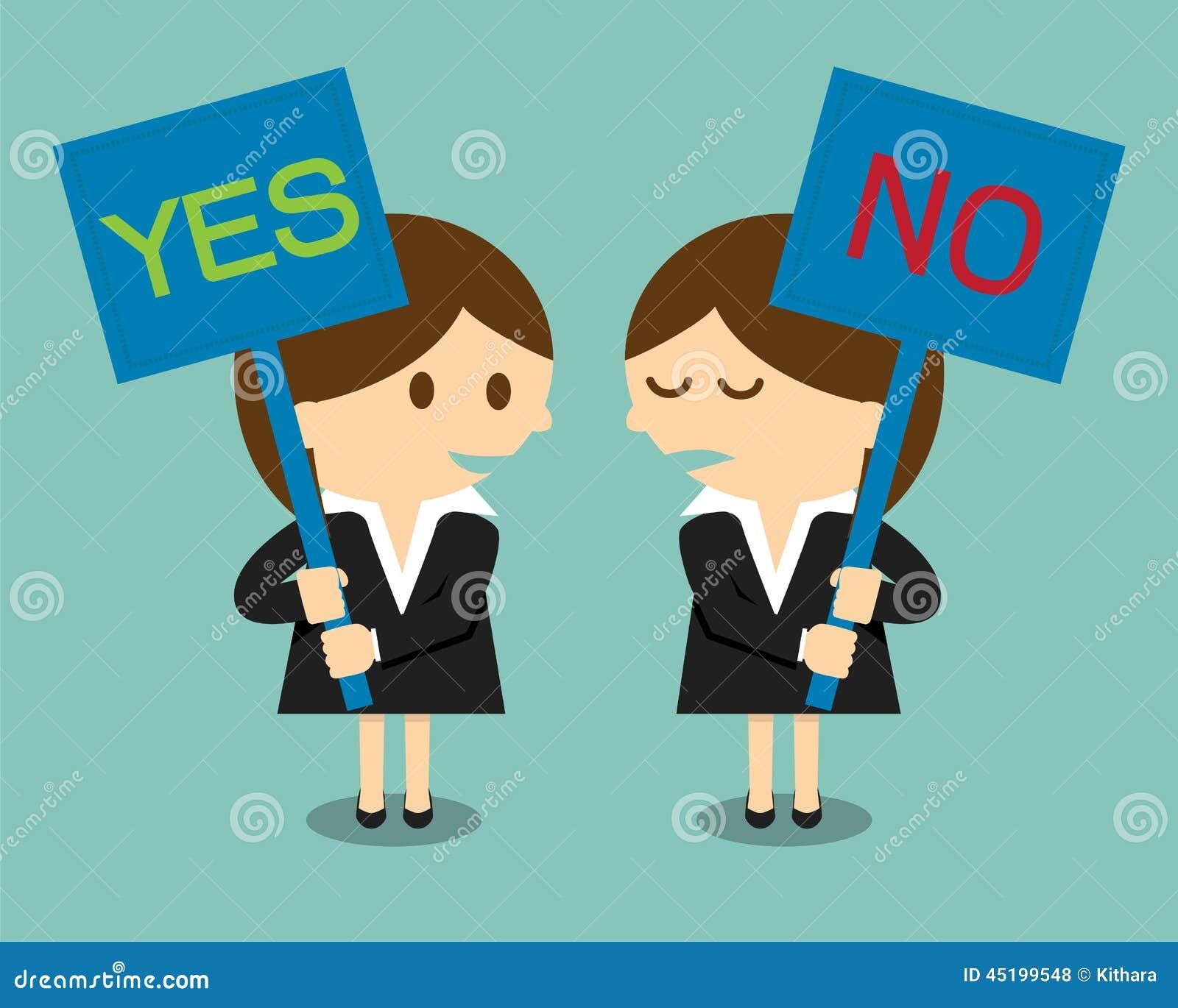 Donna di affari che tiene un insegna con la parola sì o no
