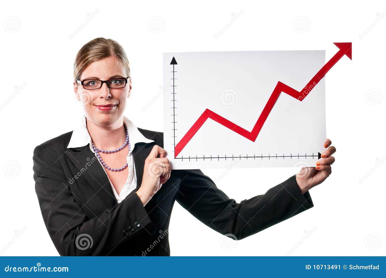 Donna di affari con il diagramma