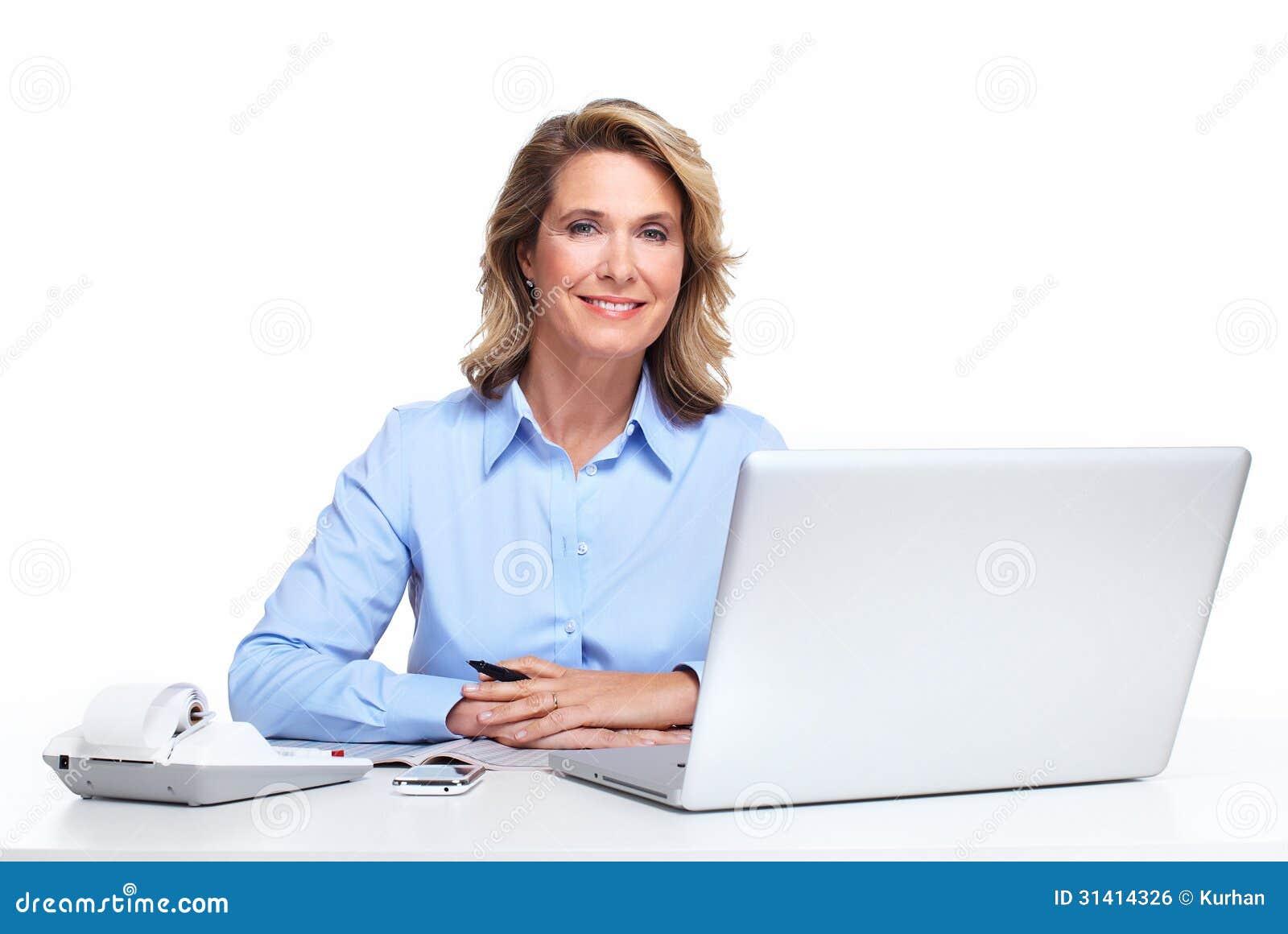 Donna di affari con un computer portatile.