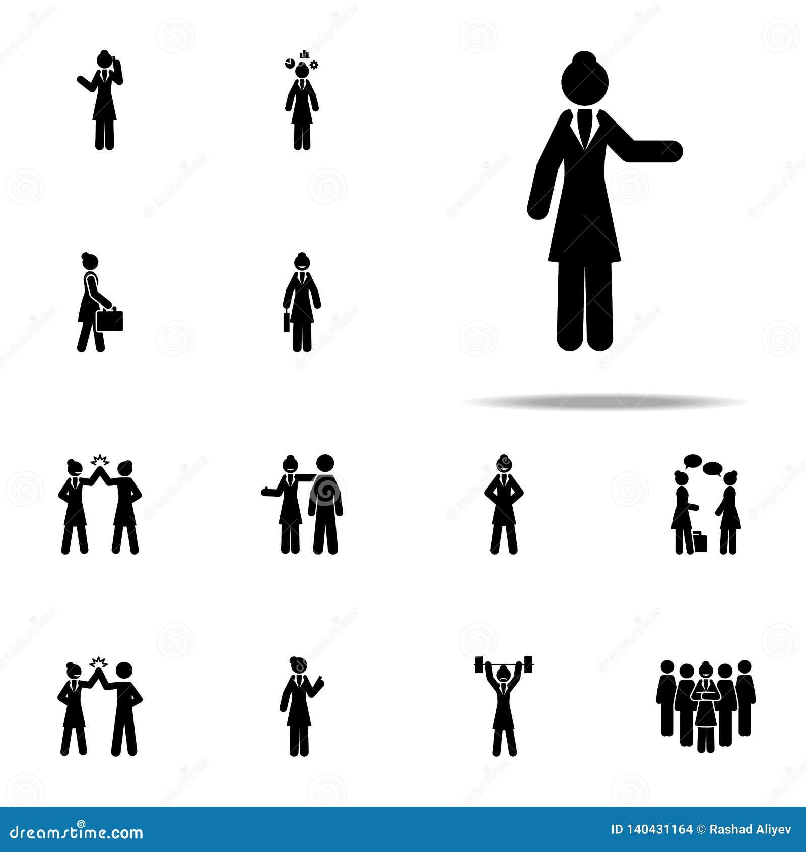 Donna di affari, mostrante icona insieme universale delle icone della donna di affari per il web ed il cellulare