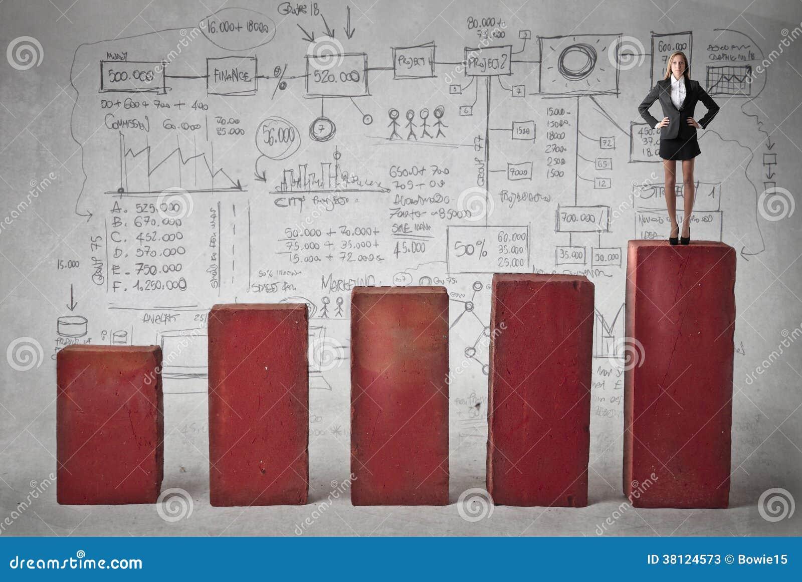 Donna di affari sulla cima del grafico