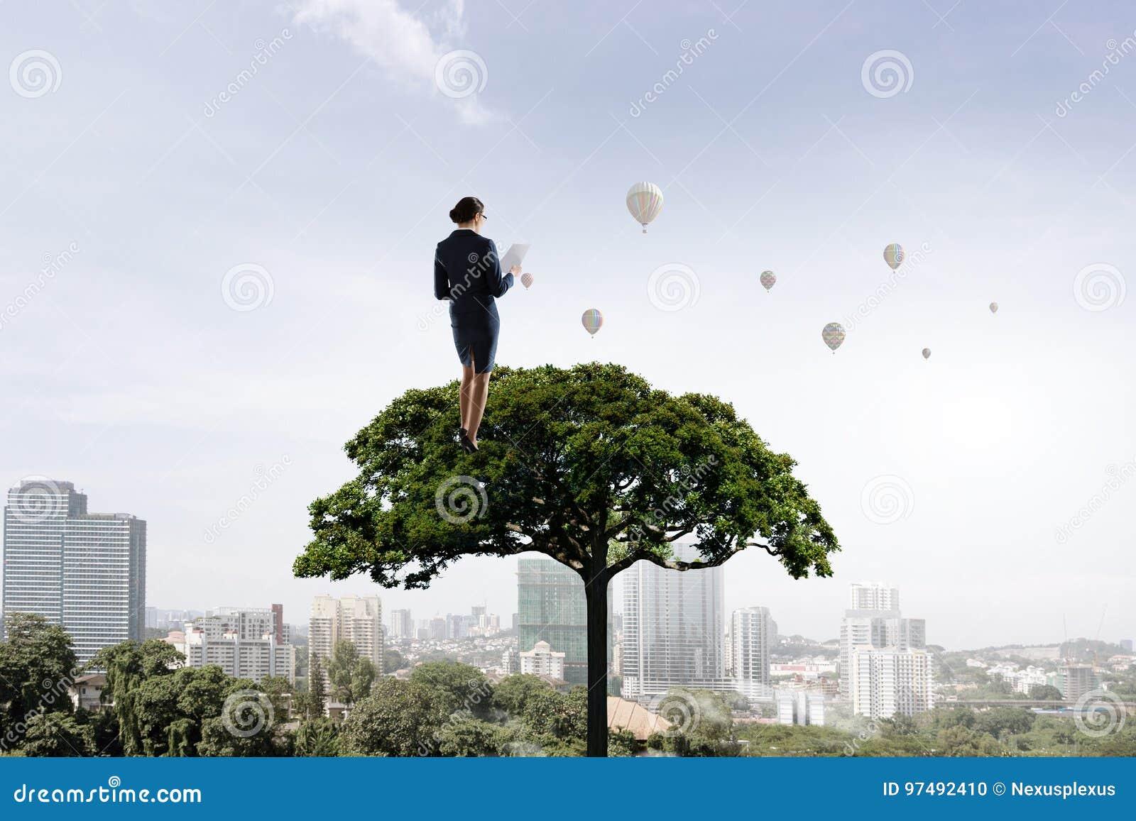Donna di affari sulla corona dell albero Media misti