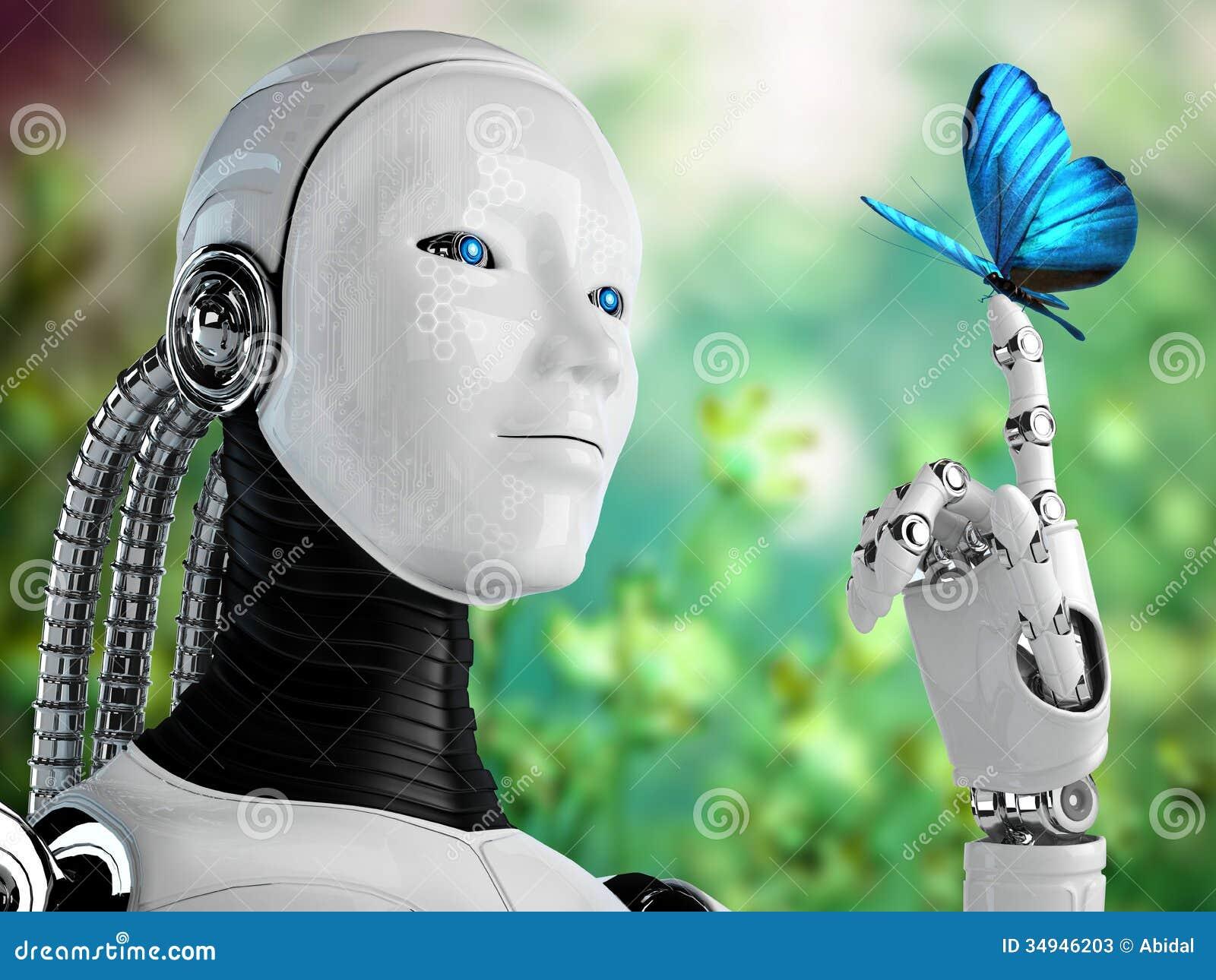 Donna di androide del robot con la farfalla in natura