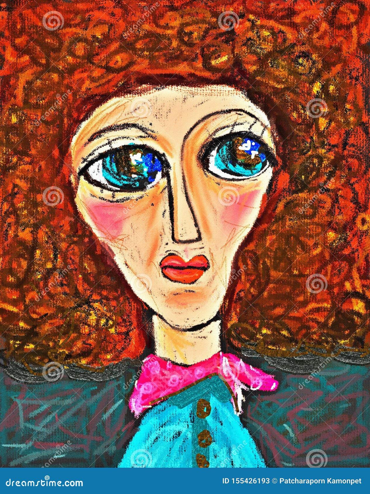 Donna di bellezza Illustrazione dell annata della pittura Ritratto disegnato a mano dell afro grazioso della ragazza su fondo ros
