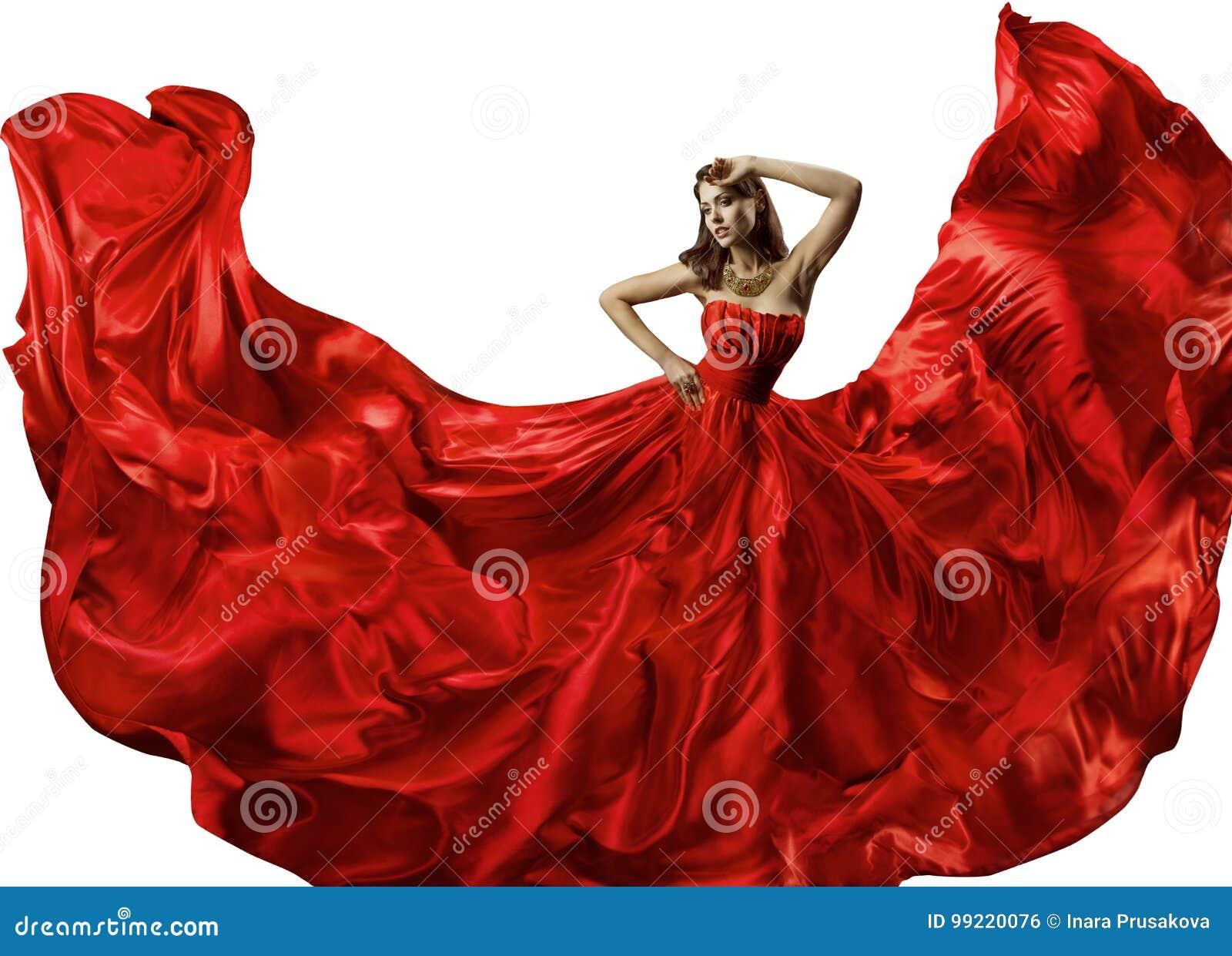 Donna di dancing in vestito rosso, abito di Dance Silk Ball del modello di moda