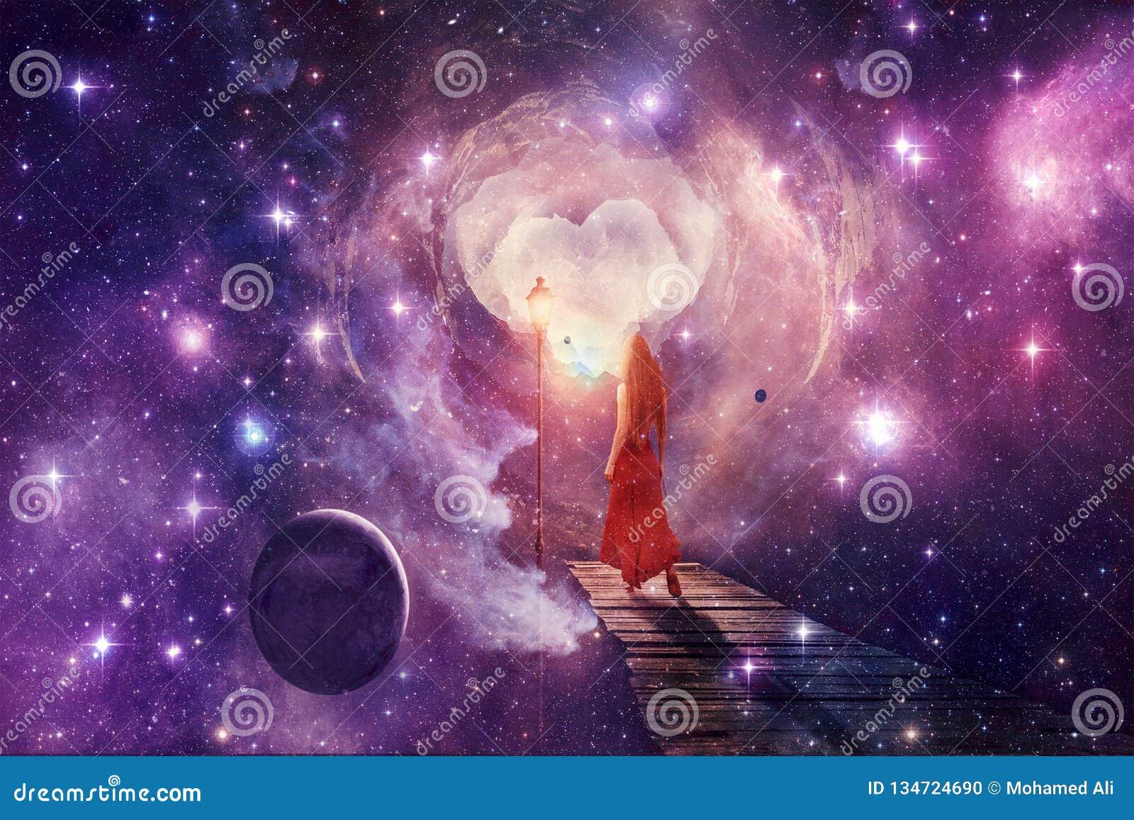 Donna di Digital del giovane estratto bella in un vestito rosso che passa attraverso un altro materiale illustrativo del mondo di