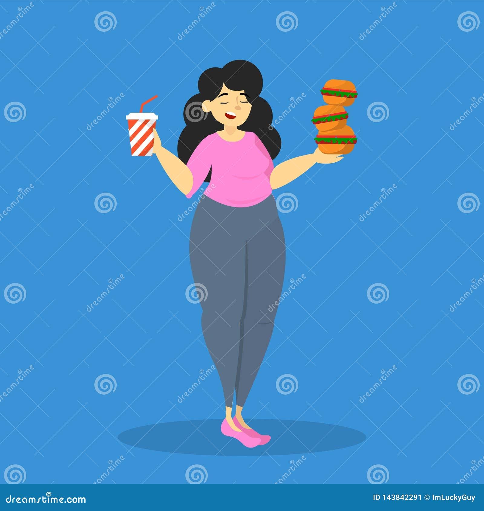 Donna di peso eccessivo grassa mangiare alimenti industriali Cibo adulto