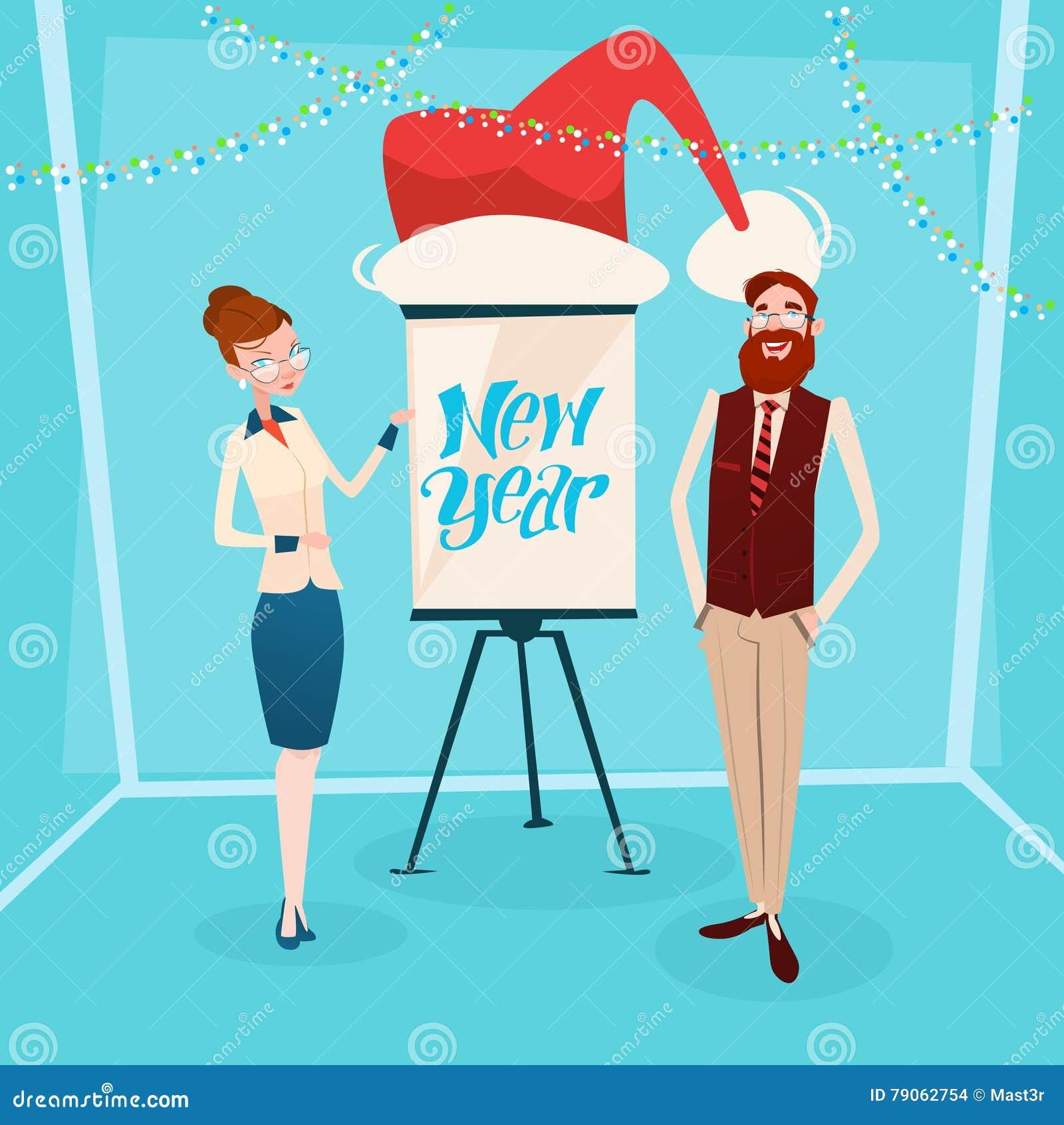 Donna ed uomo di affari con la celebrazione di anno di Flip Chart Santa Hat New