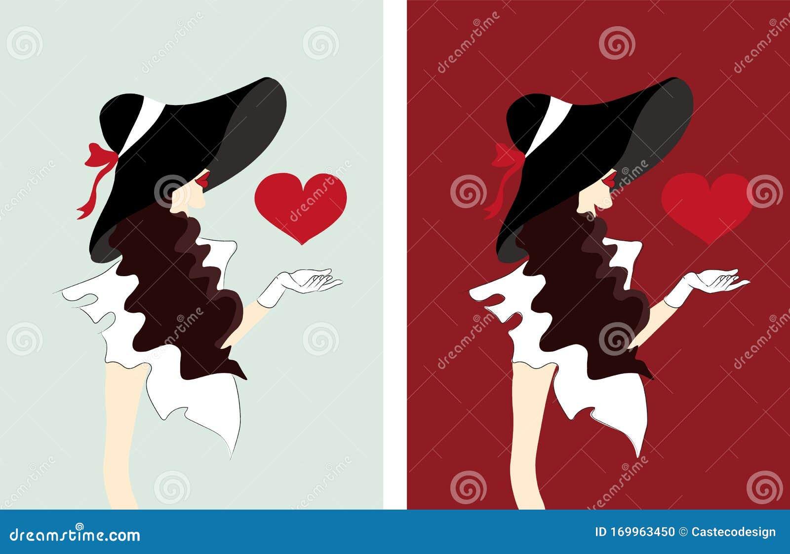 Donna Elegante Con Cappello E Capelli Ricci Che Manda ...
